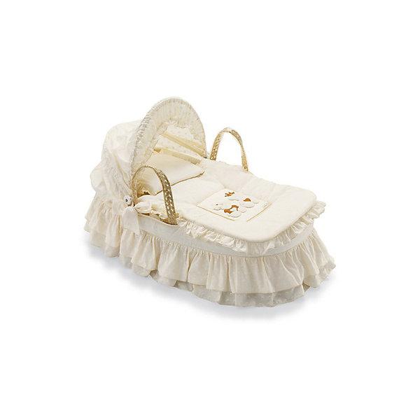 Плетеная люлька Caprice Royal, PALI, слоновая костьКолыбели-люльки для новорожденных<br>Плетеная люлька Caprice Royal станет прекрасным спальным местом для крохи. Люлька выполнена методом плетения из пальмовых листьев, без покрытия краской и лаком. Тканевая обивка сделана из натурального хлопка, ее можно снимать и стирать при температуре 30°. Благодаря широким ручкам, люлька легко переносится. Белье и антибактериальный матрасик изготовлены из гипоаллергенных материалов. Люлька с изысканным дизайном в итальянском стиле - лучший выбор для маленьких принцев и принцесс!<br><br>Дополнительная информация:<br>-жесткое днище<br>-удобные плетеные ручки<br>-украшена аппликацией<br>В комплекте: матрасик, простыня, подушка, одеяло<br>Размеры: 84х44х76 см<br>Вес: 5 кг<br>Цвет: слоновая кость<br>Плетеную люльку Caprice Royal вы можете приобрести в нашем интернет-магазине.<br><br>Ширина мм: 850<br>Глубина мм: 470<br>Высота мм: 560<br>Вес г: 3000<br>Возраст от месяцев: 0<br>Возраст до месяцев: 6<br>Пол: Унисекс<br>Возраст: Детский<br>SKU: 4977797