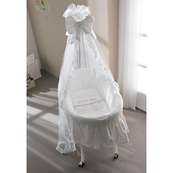 Колыбель Smart Maison Bebe, PALI, белыйКолыбели-люльки для новорожденных<br>Люлька Pali Smart Maison Bebe имеет мягкое внутреннее покрытие в виде бортиков, а также матрасика, одеяла, простыни и подушки с наволочкой из натурального хлопка в комплекте. Красивый балдахин, декорированный бантом и рюшами удобно крепится, защищая спальное место от пыли, насекомых, яркого света.<br> <br>Особенности: <br><br> - для новорожденных и детей до 2-х лет <br> - прочный каркас из натурального прута <br> - подставка с 4 ножками, на которые можно крепить вращающиеся колеса с фиксаторами<br>  - элегантный балдахин с бантом и рюшами в комплекте. <br><br>Размеры: <br><br> - Длина: 81 см <br> - Ширина: 59 см <br> - Высота: 91 см <br> - Высота с балдахином: 162 см<br><br>Ширина мм: 870<br>Глубина мм: 590<br>Высота мм: 910<br>Вес г: 13500<br>Возраст от месяцев: 0<br>Возраст до месяцев: 36<br>Пол: Унисекс<br>Возраст: Детский<br>SKU: 4977799