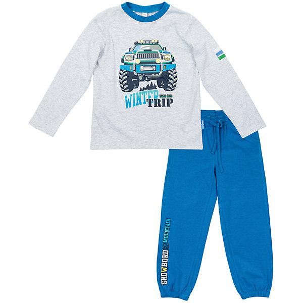 Комплект: футболка с длинным рукавом и брюки для мальчика PlayTodayКомплекты<br>Комплект: футболка с длинным рукавом и брюки для мальчика от известного бренда PlayToday.<br>Уютный хлопковый комплект из футболки с длинными рукавами и брюк в спортивном стиле. <br>Футболка украшена стильным резиновым принтом, на воротнике трикотажная резинка. <br>Пояс брюк на резинке, дополнительно регулируется шнурком. Есть 2 функциональных кармана. Украшена резиновым принтом с надписью. Низ штанишек на резинке.<br>Состав:<br>95% хлопок, 5% эластан<br>Ширина мм: 215; Глубина мм: 88; Высота мм: 191; Вес г: 336; Цвет: синий; Возраст от месяцев: 84; Возраст до месяцев: 96; Пол: Мужской; Возраст: Детский; Размер: 128,116,104,98,122,110; SKU: 4978216;