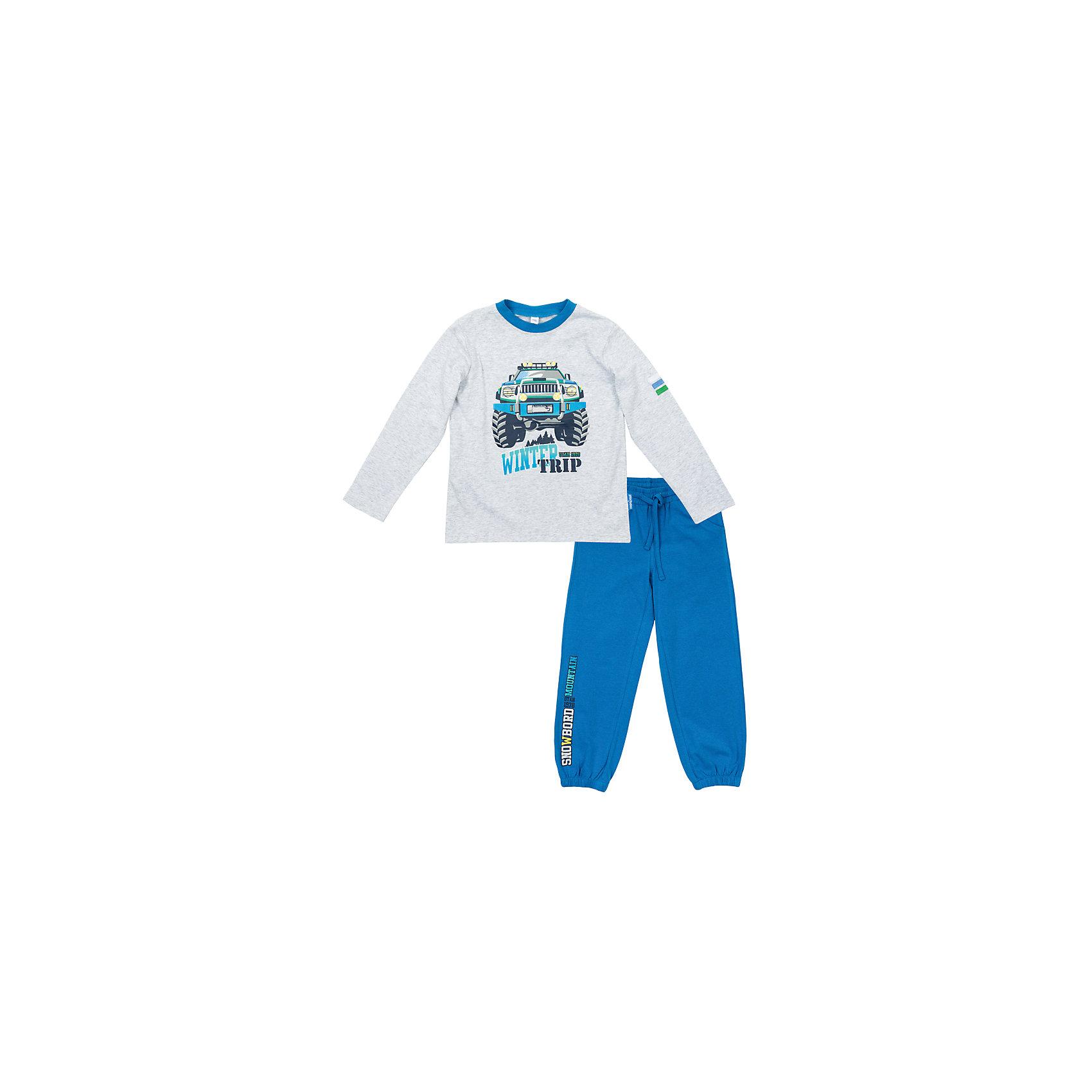 Комплект: футболка с длинным рукавом и брюки для мальчика PlayTodayКомплекты<br>Комплект: футболка с длинным рукавом и брюки для мальчика от известного бренда PlayToday.<br>Уютный хлопковый комплект из футболки с длинными рукавами и брюк в спортивном стиле. <br>Футболка украшена стильным резиновым принтом, на воротнике трикотажная резинка. <br>Пояс брюк на резинке, дополнительно регулируется шнурком. Есть 2 функциональных кармана. Украшена резиновым принтом с надписью. Низ штанишек на резинке.<br>Состав:<br>95% хлопок, 5% эластан<br><br>Ширина мм: 215<br>Глубина мм: 88<br>Высота мм: 191<br>Вес г: 336<br>Цвет: синий<br>Возраст от месяцев: 72<br>Возраст до месяцев: 84<br>Пол: Мужской<br>Возраст: Детский<br>Размер: 122,128,98,104,116,110<br>SKU: 4978216