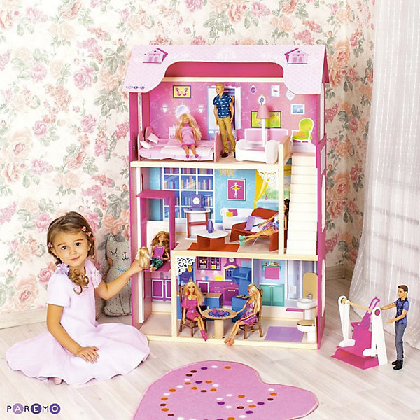 Домик для Барби Муза, с аксессуарами, PAREMOДомики для кукол<br>Домик для Барби Муза, с аксессуарами, PAREMO.<br><br>Характеристики:<br>•Материал: дерево, фанера, флок, фетр. Сделан из натуральных материалов- 100% дерево, ни одного пластикового элемента в каркасе и мебели.<br>•3-х этажная конструкция. В доме 4 комнаты. <br>•Задняя часть домика глухая, а передняя – открыта.<br>•Подходит для всех кукол высотой до 30 см<br>•Гаражное помещение.<br>•Конструкция продается в разобранном виде. Инструкция по сборке входит в комплект.<br>•Размер игрушки в собранном виде - 82х33х120 см.<br>•Размер упаковки - 88х36х30 см.<br>•Вес 16,5 кг. <br><br>В комплекте:<br><br>• 16 аксессуаров: раковина, унитаз (крышка поднимается), круглый обеденный стол, 2 классических стула, кухонная плита (дверца духового шкафа открывается, верхняя полка выдвигается), кухонная мойка (боковые дверцы гарнитура открываются), диван, журнальный столик, открытый шкафчик, часы, настольная лампа, 2 большие кровати, колыбель для куколки-ребенка (до 15 см), торшер;<br>• уличные качели;<br>• 27 декоративных наклеек для украшения интерьера и фасадов (8 цветов в горшках и 2 балкона для фасадов, 2 чердачных окошка на крышу, овальный коврик для ванной, ванна и шкафчик для полотенец, ажурная салфетка для обеденного стола и кухонная полочка, большое окно и напольный цветок в гостиной, гардероб и 6 семейных фоторамок и картин в спальне)<br><br>ВНИМАНИЕ! Куклы, кукольная одежда и транспорт, а также текстиль приобретается отдельно!<br><br>На первом этаже разместились кухня-столовая и ванная комната, на втором – гостиная, на третьем –спальня. С первого на второй этаж куклы смогут подняться на лифте (управляется вручную). Со второго на третий этаж ведет белоснежная лестница. Лестница имеет флоковое покрытие, бархатистое и мягкое на ощупь, создающее ощущение уюта и мягкости. Фасады украшают цветочные орнаменты. Материалы, из которых изготовлен домик, полностью соответствуют российским стандартам безопасности. Ваша малышка б