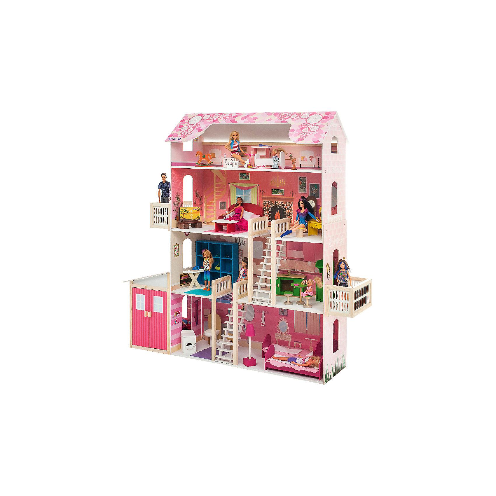 Домик для Барби Нежность, с аксессуарами, PAREMOДомики и мебель<br>Домик для Барби Нежность, с аксессуарами, PAREMO.<br><br>Характеристики:<br><br>•     Материал: дерево, фанера, флок, фетр. Сделан из натуральных материалов- 100% дерево, ни одного пластикового элемента в каркасе и мебели.<br>•Домик имеет пристенную конструкцию: задняя часть домика глухая, а передняя – открыта.<br>4-х этажная конструкция.<br>•На уровне 2-го и 3-го этажей расположены балконы.<br>•Подходит для всех кукол высотой до 30 см<br>•Конструкция продается в разобранном виде. Инструкция по сборке входит в комплект.<br>•Размер игрушки в собранном виде - 140х33х135 см.<br>•Размер упаковки - 96х37х37 см<br>•Вес 24 кг. <br><br>В комплекте:<br><br>• 28 аксессуаров: стиральная машина, раковина, унитаз (крышка поднимается), 2 розовые кровати, торшер, шкаф, гладильная доска, утюг, мойка, плита, стол для кухни, 2 табурета, сиреневый диван, журнальный столик, телевизор, тумба под ТВ, напольные часы, туалетный столик, пуф, колыбель, пуф для детской, комод для детской, качалка-лошадка.<br>• 34 декоративных наклейки для украшения интерьера и фасадов. <br><br>ВНИМАНИЕ! Куклы, кукольная одежда и транспорт, а также текстиль приобретается отдельно!<br><br>Домик для Барби Нежность, с аксессуарами, PAREMO – игрушка от российского производителя. В доме 7 комнат, 2 балкона и гараж для кукольного транспорта. На первом этаже гараж, в котором можно припарковать автомобиль Большие двери гаража легко открываются. При этом из гаража предусмотрен еще и сквозной проход для куклы в жилую часть дома, где располагаются ванная и спальня для кукол. На втором этаже – гардеробная и кухня. На третьем – гостиная и уголок красоты. На четвертом, мансардном, этаже – уютная детская комната Фасады украшают цветочные орнаменты.  Между этажами куклы передвигаются по белоснежной лестнице. Лестница имеет флоковое покрытие, бархатистое и мягкое на ощупь.<br>Материалы, из которых изготовлен домик, полностью соответствуют российским стандартам 