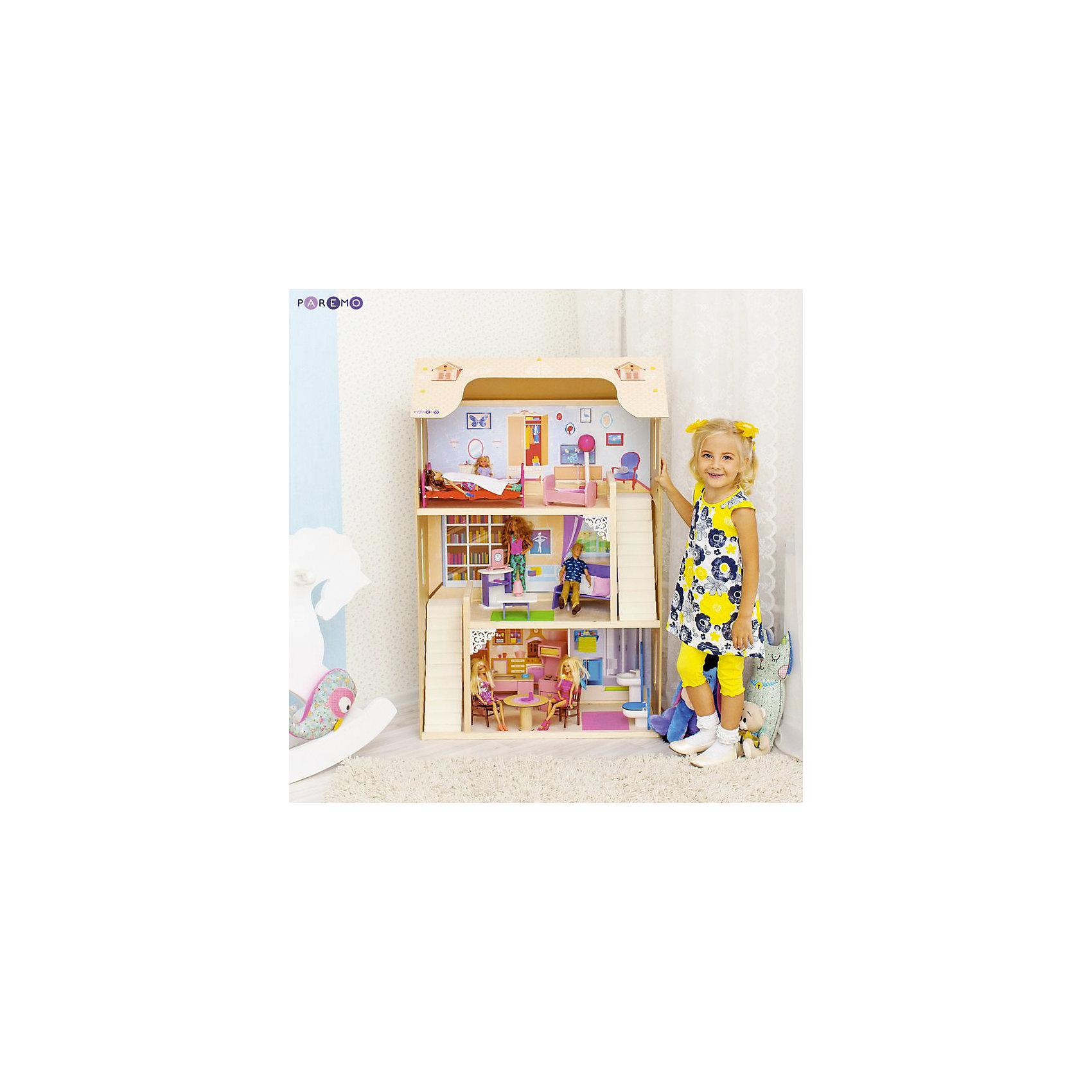 Домик для Барби Шарм, с аксессуарами, PAREMOИгрушечные домики и замки<br>Домик для Барби Шарм, с аксессуарами, PAREMO.<br><br>Характеристики:<br>•Материал: дерево, фанера, флок, фетр. Сделан из натуральных материалов- 100% дерево, ни одного пластикового элемента в каркасе и мебели.<br>•Домик имеет пристенную конструкцию: задняя часть домика глухая, а передняя – открыта.<br>•В доме 3 этажа и 4 просторные комнаты<br>•Окна в кукольном домике двух типов – в виде больших белых рам по бокам дома и большое окно-наклейка в гостиной.<br>•Домик окрашен в бежевый цвет. Оттенок максимально приближен к цвету натуральной древесины. <br>•Подходит для всех кукол высотой до 30 см<br>•Конструкция продается в разобранном виде. Инструкция по сборке входит в комплект.<br>•Размер игрушки в собранном виде - 82х33х120 см.<br>•Размер упаковки - 88х36х30 см.<br>•Вес 16 кг. <br><br>В комплекте:<br><br>• 16 аксессуаров: раковина, унитаз (крышка поднимается), круглый обеденный стол, 2  стула, кухонная плита (дверца духового шкафа открывается, верхняя полка выдвигается), кухонная мойка (боковые дверцы открываются), диван, журнальный столик, открытый шкафчик, часы, настольная лампа, 2 кровати, колыбель, торшер. <br>• 28 декоративных наклеек для украшения интерьера и фасадов (2 окна на крыше, 8 цветов и 2 балкона, коврик для ванной, ванна и шкафчик для полотенец, ажурная салфетка для обеденного стола и кухонная полочка, большое окно и цветок в гостиной, гардероб и 6 семейных фоторамок и картин в спальне)<br><br>ВНИМАНИЕ! Куклы, кукольная одежда и транспорт, а также текстиль приобретается отдельно!<br><br>Домик для Барби Шарм, с аксессуарами, PAREMO – игрушка от российского производителя. . На первом этаже располагаются кухня-столовая и ванная комната, на втором – гостиная, на третьем – кукольная спальня. Между этажами куклы передвигаются по лестнице. Лестница имеет флоковое покрытие, бархатистое и мягкое на ощупь, создающее ощущение уюта и мягкости. По бокам домик украшают цветочные вазы и белосне