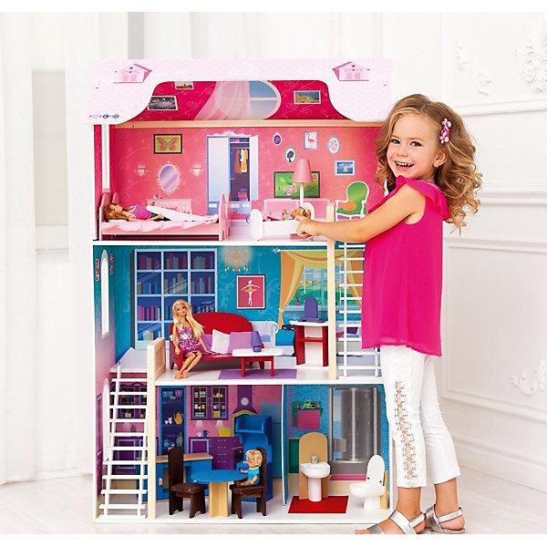 Домик для Барби Вдохновение, с аксессуарами, PAREMOДомики для кукол<br>Домик для Барби Вдохновение, с аксессуарами, PAREMO.<br><br>Характеристики:<br>•Материал: дерево, фанера, флок, фетр. Сделан из натуральных материалов- 100% дерево, ни одного пластикового элемента в каркасе и мебели.<br>•Домик имеет пристенную конструкцию: задняя часть домика глухая, а передняя – открыта.<br>•3 этажа,4 комнаты.<br>•Цвет: насыщенно-розовый.<br>•Подходит для всех кукол высотой до 30 см<br>•Конструкция продается в разобранном виде. Инструкция по сборке входит в комплект.<br>•Размер игрушки в собранном виде - 82х33х120 см.<br>•Размер упаковки - 88х36х30 см.<br>•Вес 16 кг. <br><br>В комплекте:<br><br>• 16 аксессуаров: раковина, унитаз (крышка поднимается), обеденный стол, 2 стула, кухонная плита (дверца духового шкафа открывается, верхняя полка выдвигается), кухонная мойка (боковые дверцы открываются), диван, журнальный столик, шкафчик, часы, лампа, 2 кровати, колыбель, торшер.<br><br>ВНИМАНИЕ! Куклы, кукольная одежда и транспорт, а также текстиль приобретается отдельно!<br><br>Домик для Барби Вдохновение, с аксессуарами, PAREMO (Паремо) –игрушка от российского производителя. Фасады украшают цветочные орнаменты. Белоснежные рамы окон и балконы, контрастируя с цветом фасадов, делают домик и грациозным и нежным одновременно. На крыше два мансардных окошка (наклейки).<br>В доме имеются 3 этажа и 4 большие комнаты. На первом этаже располагаются кухня-столовая и ванная комната, на втором – гостиная, на третьем – кукольная спальня. Между этажами имеется белоснежная флокированная лестница, бархатистая и мягкая на ощупь, создающая ощущение уюта и мягкости. <br>Материалы, из которых изготовлен домик, полностью соответствуют российским стандартам безопасности. С домиком можно играть на улице, Цвета не выгорают на солнце и не портятся от дождя.<br><br>Домик для Барби Вдохновение, с аксессуарами, PAREMO, можно купить в нашем интернет - магазине<br>Ширина мм: 360; Глубина мм: 880; Высота мм: 300; 