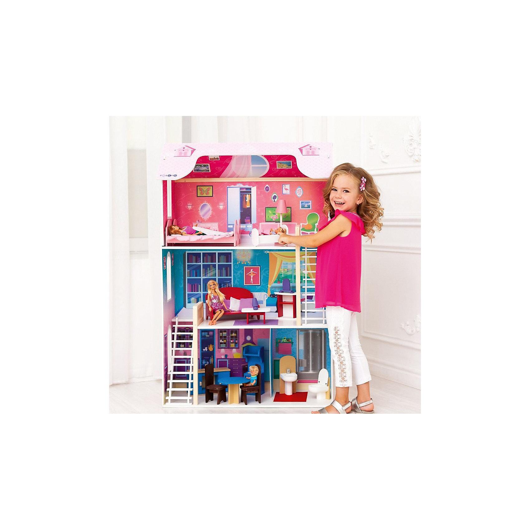 Домик для Барби Вдохновение, с аксессуарами, PAREMOДомики и мебель<br>Домик для Барби Вдохновение, с аксессуарами, PAREMO.<br><br>Характеристики:<br>•Материал: дерево, фанера, флок, фетр. Сделан из натуральных материалов- 100% дерево, ни одного пластикового элемента в каркасе и мебели.<br>•Домик имеет пристенную конструкцию: задняя часть домика глухая, а передняя – открыта.<br>•3 этажа,4 комнаты.<br>•Цвет: насыщенно-розовый.<br>•Подходит для всех кукол высотой до 30 см<br>•Конструкция продается в разобранном виде. Инструкция по сборке входит в комплект.<br>•Размер игрушки в собранном виде - 82х33х120 см.<br>•Размер упаковки - 88х36х30 см.<br>•Вес 16 кг. <br><br>В комплекте:<br><br>• 16 аксессуаров: раковина, унитаз (крышка поднимается), обеденный стол, 2 стула, кухонная плита (дверца духового шкафа открывается, верхняя полка выдвигается), кухонная мойка (боковые дверцы открываются), диван, журнальный столик, шкафчик, часы, лампа, 2 кровати, колыбель, торшер.<br><br>ВНИМАНИЕ! Куклы, кукольная одежда и транспорт, а также текстиль приобретается отдельно!<br><br>Домик для Барби Вдохновение, с аксессуарами, PAREMO (Паремо) –игрушка от российского производителя. Фасады украшают цветочные орнаменты. Белоснежные рамы окон и балконы, контрастируя с цветом фасадов, делают домик и грациозным и нежным одновременно. На крыше два мансардных окошка (наклейки).<br>В доме имеются 3 этажа и 4 большие комнаты. На первом этаже располагаются кухня-столовая и ванная комната, на втором – гостиная, на третьем – кукольная спальня. Между этажами имеется белоснежная флокированная лестница, бархатистая и мягкая на ощупь, создающая ощущение уюта и мягкости. <br>Материалы, из которых изготовлен домик, полностью соответствуют российским стандартам безопасности. С домиком можно играть на улице, Цвета не выгорают на солнце и не портятся от дождя.<br><br>Домик для Барби Вдохновение, с аксессуарами, PAREMO, можно купить в нашем интернет - магазине<br><br>Ширина мм: 360<br>Глубина мм: 880<br>Высота мм