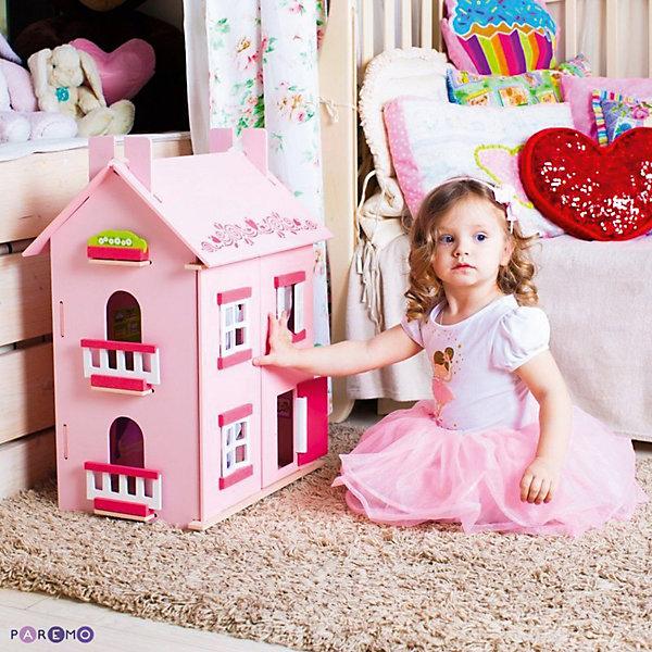 Кукольный домик Милана с мебелью 15 предметов, PAREMOДомики для кукол<br>Кукольный домик Милана, с мебелью 15 предметов, PAREMO (Паремо).<br><br>Характеристики:<br><br>•Материал: дерево, текстиль. Сделан из натуральных материалов- 100% дерево, ни одного пластикового элемента в каркасе и мебели.<br>•Домик имеет полностью закрытую конструкцию: для доступа к внутреннему игровому пространству нужно открыть лицевые створки фасада и перекидные створки крыши.<br>•3 этажа.<br>•Окна, ставни и дверь свободно открываются и закрываются.<br>•Цвет: розовый.<br>•Подходит для мини- кукол высотой до 15 см.<br>•Конструкция продается в разобранном виде. Инструкция по сборке входит в комплект.<br>•Размер игрушки в собранном виде - 45х35х65 см.<br>•Размер упаковки - 67х44х12 см.<br>•Вес 10 кг. <br><br>В комплекте:<br><br>• 15 предметов мебели: раковина, унитаз (крышка поднимается), 2-спальная кровать, тумба, торшер; обеденный стол, 2 стула, кухонный стеллаж, плита; диван, тумбочка, часы, тумба под телевизор, плоский телевизор.<br>• 23 декоративные наклейки для украшения интерьера и фасадов (снаружи - 2 наклейки с цветами для боковых цветников снаружи домика, орнамент на дверь; внутри первого этажа – окно, 4 фото-рамки, 2 бра; второго этажа – кухонный коврик, буфет и полка, салфетка на стол и 2 наклейки на плиту, третьего этажа - 3 картины, 2 мансардных окна, циферблат часов, экран телевизора).<br><br>ВНИМАНИЕ! Куклы, кукольная одежда и транспорт, а также текстиль приобретается отдельно!<br><br>Кукольный домик Милана, с мебелью 15 предметов, PAREMO (Паремо). Домик выполнен в современном стиле. Очаровательный дом предназначен для сюжетно-ролевых игр («Семья», «Дочки- матери» и т. п.) Яркая мебель, сочные цвета интерьерных наклеек и текстиля (не входит в базовую комплектацию) наполняют домик озорством и задором. В доме 3 этажа, 4 просторных комнаты. На первом этаже располагаются ванная комната и спальня. На втором этаже – кухня - столовая. На третьем – уютная гостиная. <br><br>Кукольный до