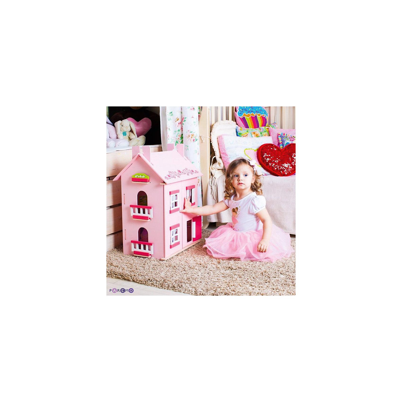 Кукольный домик Милана с мебелью 15 предметов, PAREMOДомики и мебель<br>Кукольный домик Милана, с мебелью 15 предметов, PAREMO (Паремо).<br><br>Характеристики:<br><br>•Материал: дерево, текстиль. Сделан из натуральных материалов- 100% дерево, ни одного пластикового элемента в каркасе и мебели.<br>•Домик имеет полностью закрытую конструкцию: для доступа к внутреннему игровому пространству нужно открыть лицевые створки фасада и перекидные створки крыши.<br>•3 этажа.<br>•Окна, ставни и дверь свободно открываются и закрываются.<br>•Цвет: розовый.<br>•Подходит для мини- кукол высотой до 15 см.<br>•Конструкция продается в разобранном виде. Инструкция по сборке входит в комплект.<br>•Размер игрушки в собранном виде - 45х35х65 см.<br>•Размер упаковки - 67х44х12 см.<br>•Вес 10 кг. <br><br>В комплекте:<br><br>• 15 предметов мебели: раковина, унитаз (крышка поднимается), 2-спальная кровать, тумба, торшер; обеденный стол, 2 стула, кухонный стеллаж, плита; диван, тумбочка, часы, тумба под телевизор, плоский телевизор.<br>• 23 декоративные наклейки для украшения интерьера и фасадов (снаружи - 2 наклейки с цветами для боковых цветников снаружи домика, орнамент на дверь; внутри первого этажа – окно, 4 фото-рамки, 2 бра; второго этажа – кухонный коврик, буфет и полка, салфетка на стол и 2 наклейки на плиту, третьего этажа - 3 картины, 2 мансардных окна, циферблат часов, экран телевизора).<br><br>ВНИМАНИЕ! Куклы, кукольная одежда и транспорт, а также текстиль приобретается отдельно!<br><br>Кукольный домик Милана, с мебелью 15 предметов, PAREMO (Паремо). Домик выполнен в современном стиле. Очаровательный дом предназначен для сюжетно-ролевых игр («Семья», «Дочки- матери» и т. п.) Яркая мебель, сочные цвета интерьерных наклеек и текстиля (не входит в базовую комплектацию) наполняют домик озорством и задором. В доме 3 этажа, 4 просторных комнаты. На первом этаже располагаются ванная комната и спальня. На втором этаже – кухня - столовая. На третьем – уютная гостиная. <br><br>Кукольный дом