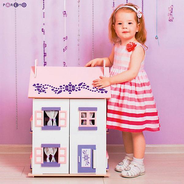 Кукольный домик Анастасия с мебелью 15 предметов, PAREMOДомики для кукол<br>Кукольный домик Анастасия, с мебелью 15 предметов, PAREMO (Паремо).<br><br>Характеристики:<br><br>•Материал: дерево, текстиль. Сделан из натуральных материалов- 100% дерево, ни одного пластикового элемента в каркасе и мебели.<br>•Домик имеет полностью закрытую конструкцию: для доступа к внутреннему игровому пространству нужно открыть лицевые створки фасада и перекидные створки крыши.<br>•2 основных, 3 –й мансардный этаж.<br>•Окна,ставни и дверь свободно открываются и закрываются.<br>•Цвет: бело - розовый.<br>•Подходит для мини- кукол высотой до 15 см.<br>•Конструкция продается в разобранном виде. Инструкция по сборке входит в комплект.<br>•Размер игрушки в собранном виде - 45х35х65 см.<br>•Размер упаковки - 67х44х12 см.<br>•Вес 11 кг. <br><br>В комплекте:<br><br>• 15 предметов мебели: раковина, унитаз (крышка поднимается), 2-спальная кровать, тумба, торшер; обеденный стол, 2 стула, кухонный стеллаж, плита; диван, тумбочка, часы, тумба под телевизор, плоский телевизор.<br>• 23 декоративные наклейки для украшения интерьера и фасадов (снаружи - 2 наклейки с цветами для боковых цветников снаружи домика, орнамент на дверь; внутри первого этажа – окно, 4 фото-рамки, 2 бра; второго этажа – кухонный коврик, буфет и полка, салфетка на стол и 2 наклейки на плиту, третьего этажа - 3 картины, 2 мансардных окна, циферблат часов, экран телевизора).<br><br>ВНИМАНИЕ! Куклы, кукольная одежда и транспорт, а также текстиль приобретается отдельно!<br><br>Кукольный домик Анастасия, с мебелью 15 предметов, PAREMO. Домик выполнен в современном стиле. Очаровательный дом предназначен для сюжетно-ролевых игр («Семья», «Дочки- матери» и т. п.) В доме 3 этажа, 4 просторных комнаты. На первом этаже располагаются ванная комната и спальня. На втором этаже – кухня - столовая. На третьем – уютная гостиная. Окна в домике в виде больших проемов по бокам дома, ведущих на балкончики, и 3 окошка с розовыми рамами на лицевом фаса