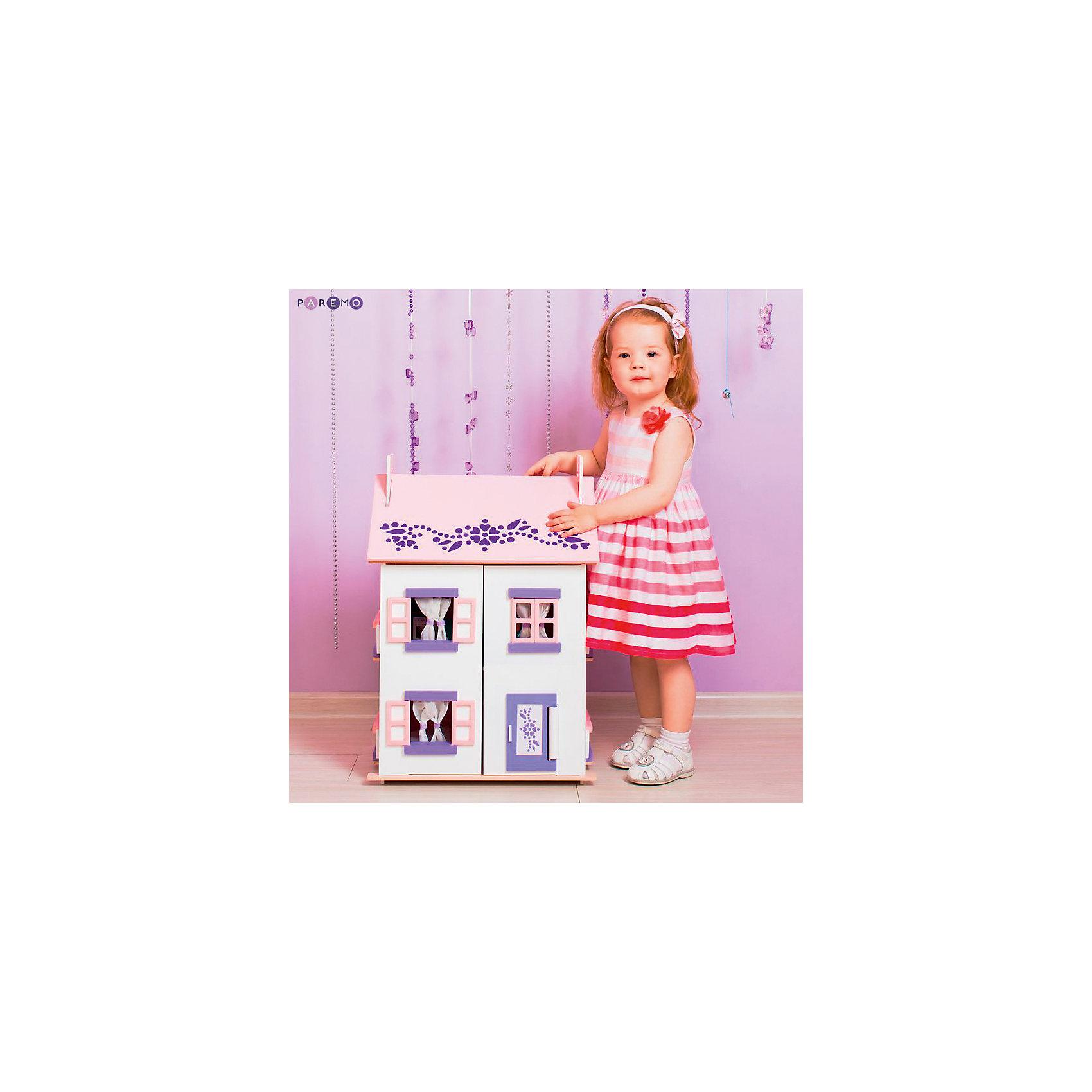 Кукольный домик Анастасия с мебелью 15 предметов, PAREMOДомики и мебель<br>Кукольный домик Анастасия, с мебелью 15 предметов, PAREMO (Паремо).<br><br>Характеристики:<br><br>•Материал: дерево, текстиль. Сделан из натуральных материалов- 100% дерево, ни одного пластикового элемента в каркасе и мебели.<br>•Домик имеет полностью закрытую конструкцию: для доступа к внутреннему игровому пространству нужно открыть лицевые створки фасада и перекидные створки крыши.<br>•2 основных, 3 –й мансардный этаж.<br>•Окна,ставни и дверь свободно открываются и закрываются.<br>•Цвет: бело - розовый.<br>•Подходит для мини- кукол высотой до 15 см.<br>•Конструкция продается в разобранном виде. Инструкция по сборке входит в комплект.<br>•Размер игрушки в собранном виде - 45х35х65 см.<br>•Размер упаковки - 67х44х12 см.<br>•Вес 11 кг. <br><br>В комплекте:<br><br>• 15 предметов мебели: раковина, унитаз (крышка поднимается), 2-спальная кровать, тумба, торшер; обеденный стол, 2 стула, кухонный стеллаж, плита; диван, тумбочка, часы, тумба под телевизор, плоский телевизор.<br>• 23 декоративные наклейки для украшения интерьера и фасадов (снаружи - 2 наклейки с цветами для боковых цветников снаружи домика, орнамент на дверь; внутри первого этажа – окно, 4 фото-рамки, 2 бра; второго этажа – кухонный коврик, буфет и полка, салфетка на стол и 2 наклейки на плиту, третьего этажа - 3 картины, 2 мансардных окна, циферблат часов, экран телевизора).<br><br>ВНИМАНИЕ! Куклы, кукольная одежда и транспорт, а также текстиль приобретается отдельно!<br><br>Кукольный домик Анастасия, с мебелью 15 предметов, PAREMO. Домик выполнен в современном стиле. Очаровательный дом предназначен для сюжетно-ролевых игр («Семья», «Дочки- матери» и т. п.) В доме 3 этажа, 4 просторных комнаты. На первом этаже располагаются ванная комната и спальня. На втором этаже – кухня - столовая. На третьем – уютная гостиная. Окна в домике в виде больших проемов по бокам дома, ведущих на балкончики, и 3 окошка с розовыми рамами на лицевом фасад