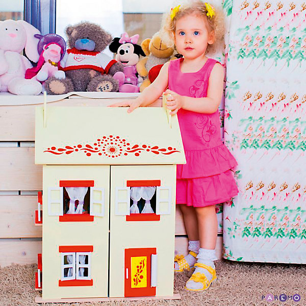 Кукольный домик София с мебелью 15 предметов, PAREMOДомики для кукол<br>Кукольный домик София, с мебелью 15 предметов, PAREMO (Паремо).<br><br>Характеристики:<br><br>•Материал: дерево, текстиль. Сделан из натуральных материалов- 100% дерево, ни одного пластикового элемента в каркасе и мебели.<br>•Домик имеет полностью закрытую конструкцию: для доступа к внутреннему игровому пространству нужно открыть лицевые створки фасада и перекидные створки крыши.<br>•2 основных, 3 –й мансардный этаж.<br>•Окна, ставни и дверь свободно открываются и закрываются.<br>•Цвет: нежно - желтый.<br>•Подходит для мини- кукол высотой до 15 см.<br>•Конструкция продается в разобранном виде. Инструкция по сборке входит в комплект.<br>•Размер игрушки в собранном виде - 45х35х65 см.<br>•Размер упаковки - 67х44х12 см<br>•Вес 11 кг. <br><br>В комплекте:<br><br>• 15 предметов мебели: раковина, унитаз (крышка поднимается), 2-спальная кровать, тумба, торшер; круглый обеденный стол, 2 стула, кухонный стеллаж, плита; диван, тумбочка, часы, тумба под телевизор, плоский телевизор.<br>• 23 декоративные наклейки для украшения интерьера и фасадов (снаружи - 2 наклейки с цветами для боковых цветников снаружи домика, орнамент на дверь; внутри первого этажа – окно, 4 фото-рамки, 2 бра; второго этажа – кухонный коврик, буфет и полка, салфетка на стол и 2 наклейки на плиту, третьего этажа - 3 картины, 2 мансардных окна, циферблат часов, экран телевизора).<br><br>ВНИМАНИЕ! Куклы, кукольная одежда и транспорт, а также текстиль приобретается отдельно!<br><br>Кукольный домик София, с мебелью 15 предметов, PAREMO. В доме 3 этажа, 4 просторных комнаты. На первом этаже располагаются ванная комната и спальня. На втором этаже – кухня- столовая. На третьем – уютная гостиная. Окна в домике в виде больших проемов по бокам дома, ведущих на балкончики, и 3 окошка на лицевом фасаде. Рамы свободно открываются и закрываются. С внутренней стороны окна предусмотрены карнизы для штор. Входная дверь первого этажа открывается.<br><br