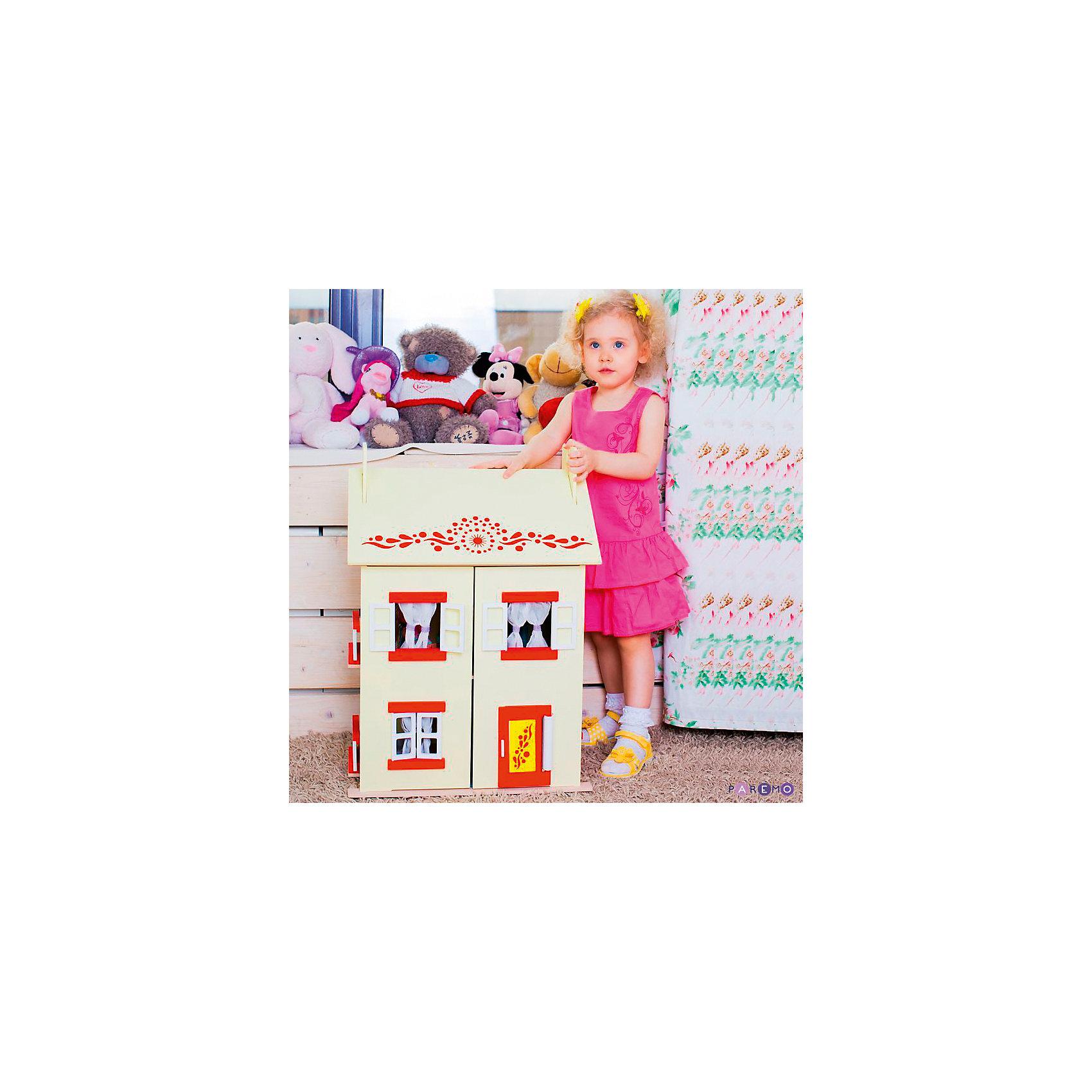 Кукольный домик София с мебелью 15 предметов, PAREMOИгрушечные домики и замки<br>Кукольный домик София, с мебелью 15 предметов, PAREMO (Паремо).<br><br>Характеристики:<br><br>•Материал: дерево, текстиль. Сделан из натуральных материалов- 100% дерево, ни одного пластикового элемента в каркасе и мебели.<br>•Домик имеет полностью закрытую конструкцию: для доступа к внутреннему игровому пространству нужно открыть лицевые створки фасада и перекидные створки крыши.<br>•2 основных, 3 –й мансардный этаж.<br>•Окна, ставни и дверь свободно открываются и закрываются.<br>•Цвет: нежно - желтый.<br>•Подходит для мини- кукол высотой до 15 см.<br>•Конструкция продается в разобранном виде. Инструкция по сборке входит в комплект.<br>•Размер игрушки в собранном виде - 45х35х65 см.<br>•Размер упаковки - 67х44х12 см<br>•Вес 11 кг. <br><br>В комплекте:<br><br>• 15 предметов мебели: раковина, унитаз (крышка поднимается), 2-спальная кровать, тумба, торшер; круглый обеденный стол, 2 стула, кухонный стеллаж, плита; диван, тумбочка, часы, тумба под телевизор, плоский телевизор.<br>• 23 декоративные наклейки для украшения интерьера и фасадов (снаружи - 2 наклейки с цветами для боковых цветников снаружи домика, орнамент на дверь; внутри первого этажа – окно, 4 фото-рамки, 2 бра; второго этажа – кухонный коврик, буфет и полка, салфетка на стол и 2 наклейки на плиту, третьего этажа - 3 картины, 2 мансардных окна, циферблат часов, экран телевизора).<br><br>ВНИМАНИЕ! Куклы, кукольная одежда и транспорт, а также текстиль приобретается отдельно!<br><br>Кукольный домик София, с мебелью 15 предметов, PAREMO. В доме 3 этажа, 4 просторных комнаты. На первом этаже располагаются ванная комната и спальня. На втором этаже – кухня- столовая. На третьем – уютная гостиная. Окна в домике в виде больших проемов по бокам дома, ведущих на балкончики, и 3 окошка на лицевом фасаде. Рамы свободно открываются и закрываются. С внутренней стороны окна предусмотрены карнизы для штор. Входная дверь первого этажа открываетс