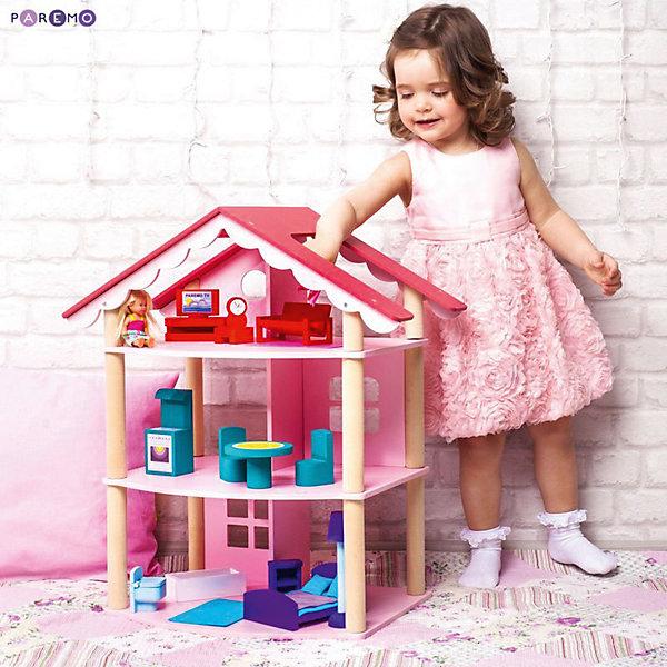 Кукольный домик Роза Хутор с мебелью 15 предметов, PAREMOДомики для кукол<br>Кукольный домик Роза Хутор, с мебелью 13 предметов, PAREMO (Паремо).<br><br>Характеристики:<br><br>? Материал: дерево, текстиль. Сделан из натуральных материалов- 100% дерево, ни одного пластикового элемента в каркасе и мебели.<br>? Домик имеет полностью открытую конструкцию.<br>? 3 этажа, 4 комнаты.<br>? 3 окна.<br>? Цвет: розовый.<br>? Подходит для мини- кукол высотой до 15 см.<br>? Конструкция продается в разобранном виде. Инструкция по сборке входит в комплект.<br>? Размер игрушки в собранном виде - 45х40х65 см.<br>? Размер упаковки - 67х44х12 см.<br>? Вес 8.5 кг.<br><br>В комплекте:<br><br>• 15 предметов мебели: 2-спальная кровать, тумба, торшер; круглый обеденный стол, 2 стула, кухонный стеллаж, плита; диван, тумбочка, часы, тумба под телевизор, плоский телевизор.<br>• 7 интерьерных наклеек.<br><br>ВНИМАНИЕ! Куклы, кукольная одежда а также текстиль приобретается отдельно!<br><br>Кукольный домик Роза Хутор, с мебелью 15 предметов, PAREMO (Паремо) –игрушка от российского производителя, безусловно покорит вашу девочку! Это игрушка, в которой воплощены стиль и роскошь, простота и уют, получила название от ставшего известным после Олимпиады в Сочи 2014 курортного местечка - Роза Хутор.Очаровательный дом предназначен для сюжетно-ролевых игр («Семья», «Дочки- матери» и т. п.) Домик выкрашен в нежный розовый цвет с ярко-розовой крышей. Яркая мебель, сочные цвета интерьерных наклеек придают дому законченный и уютный вид. В доме 3 этажа, 4 просторных комнаты. Комнаты разделены перегородками. На первом этаже располагаются ванная комната и спальня. На втором этаже – кухня- столовая. На третьем – уютная гостиная.<br>Материалы, из которых изготовлен домик, полностью соответствуют российским стандартам безопасности. Ваша малышка будет счастлива, получить в подарок славный нарядный домик для своей любимой куклы!<br><br>Кукольный домик Роза Хутор, с мебелью 15 предметов, PAREMO, можно купить в нашем и
