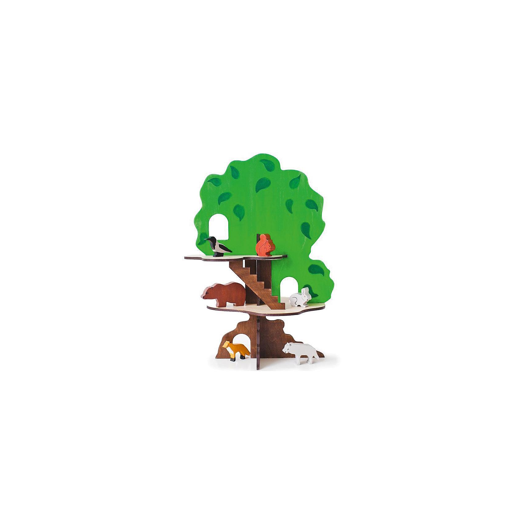 Игрушка-конструктор Дом-дерево с 6 фигурками животных, PAREMOИгрушечное дерево представляет собой игровой набор, состоящий из большого дерева с лазами и лесенкой, а также 6 фигурок животных и птиц;<br>- Домик-дерево собирается по принципу пазла. Для сборки не требуется никаких специальных навыков и дополнительного оборудования;<br>- В домике 2 этаж, лестница, окошки и дупло;<br>- Ствол дерева и лестница - темно-коричневый; этажи - бежевые, а крона - ярко-зеленая с прорисованными большими листьями;<br>- Игрушка достаточно большая, чтобы с ней могли играть сразу 2 ребенка. Игрушка универсальная: подходит и мальчикам и девочкам;<br>- Материалы: массив бука, фанера;<br>- Покраска и роспись ручные, красители безопасные на водной основе;<br>- В комплекте 6 фигурок: медведь, волк, лиса, заяц, белка, ворона.<br>- Рекомендованный возраст: 2+<br><br>Ширина мм: 440<br>Глубина мм: 400<br>Высота мм: 50<br>Вес г: 4000<br>Возраст от месяцев: 36<br>Возраст до месяцев: 120<br>Пол: Унисекс<br>Возраст: Детский<br>SKU: 4979520