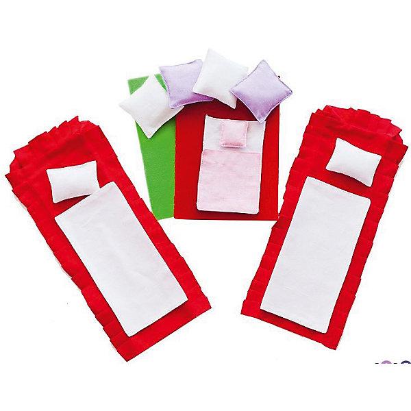 Набор текстиля для бежевых домиков, Вдохновение, PAREMOОдежда для кукол<br>Набор текстиля для бежевых домиков, Вдохновение, PAREMO (Паремо).<br><br>Характеристики:<br><br>• Материал: текстиль<br>• Размер упаковки (см) 33х30х10<br>• Вес (кг) 0.2<br><br>В комплект входит 15 предметов:<br><br>• Для кукольных кроватей (по 2 шт.) - красные простыни, белые одеяла, белые прямоугольные подушки.<br>• Для люльки - белая простыня, розовое одеяльце, розовая подушечка.<br>• Для дивана - 4 большие подушки (2 - сиреневые, 2 - белые).<br>• Красный коврик в спальню.<br>• Зеленый коврик в гостиную.<br><br>С таким набором текстиля прелестный бежевый домик «Вдохновение» примет законченный вид.Мягкие подушечки, постельные принадлежности, а также коврики создадут теплую уютную атмосферу игрушечного домика. Ваша девочка почувствует себя настоящей хозяйкой очаровательного домика!<br><br>Набор текстиля для бежевых домиков, Вдохновение, PAREMO (Паремо), можно купить в нашем интернет – магазине.<br>Ширина мм: 300; Глубина мм: 330; Высота мм: 10; Вес г: 200; Возраст от месяцев: 36; Возраст до месяцев: 120; Пол: Женский; Возраст: Детский; SKU: 4979521;