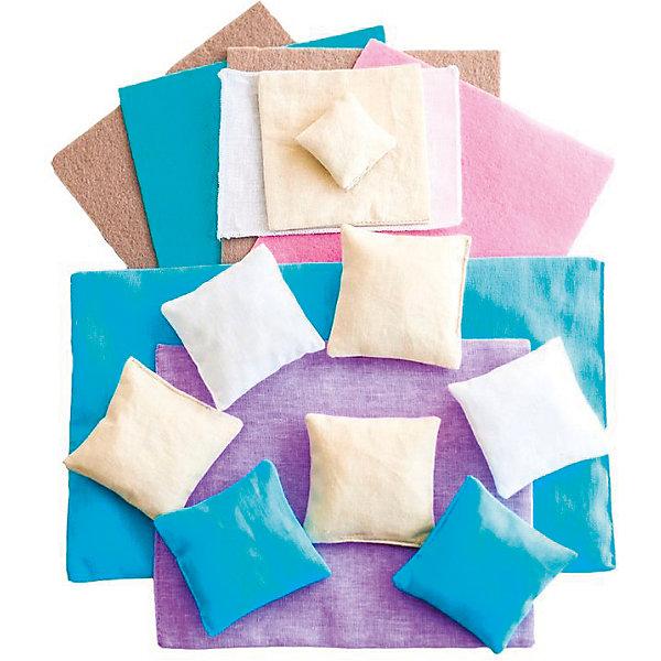 Набор текстиля для домика Фантазия, PAREMOОдежда для кукол<br>Набор текстиля для домика Фантазия, PAREMO<br><br>Характеристики:<br><br>• Материал: хлопок, ситец, фетр.<br>• Размер упаковки (см) 33х30х10<br>• Вес (кг) 0.2<br><br>В комплект входит:<br><br>- Для большой двуспальной кровати: голубые матрас и 2 подушечки, сиреневое одеяло;<br>- Для детской люльки: белая простынь, бежевые подушечка и одеяльце;<br>- Для дивана в гостиной: 4 большие подушки, бежевые и белые (по 2 каждого цвета);<br>- Для кресла в кабинете: 1 большая бежевая подушка;<br>- Розовый коврик в детскую комнату;<br>- Голубой коврик в ванную комнату;<br>- 2 бежевых коврика в гостиную и гардеробную.<br><br>С таким набором текстиля прелестный домик «Фантазия» примет законченный вид. Цвета текстильных элементов поддерживают основное цветовое решение домика и элементов мебели, смягчая цветовые акценты и помогая создать заложенную дизайнерами идею игрового набора.<br>Мягкие подушечки, постельные принадлежности, а также коврики создадут теплую уютную атмосферу игрушечного домика. Ваша девочка почувствует себя настоящей хозяйкой очаровательного домика!<br><br>Набор текстиля для домика Фантазия, PAREMO (Паремо), можно купить в нашем интернет- магазине.<br>Ширина мм: 300; Глубина мм: 330; Высота мм: 10; Вес г: 200; Возраст от месяцев: 36; Возраст до месяцев: 120; Пол: Женский; Возраст: Детский; SKU: 4979522;