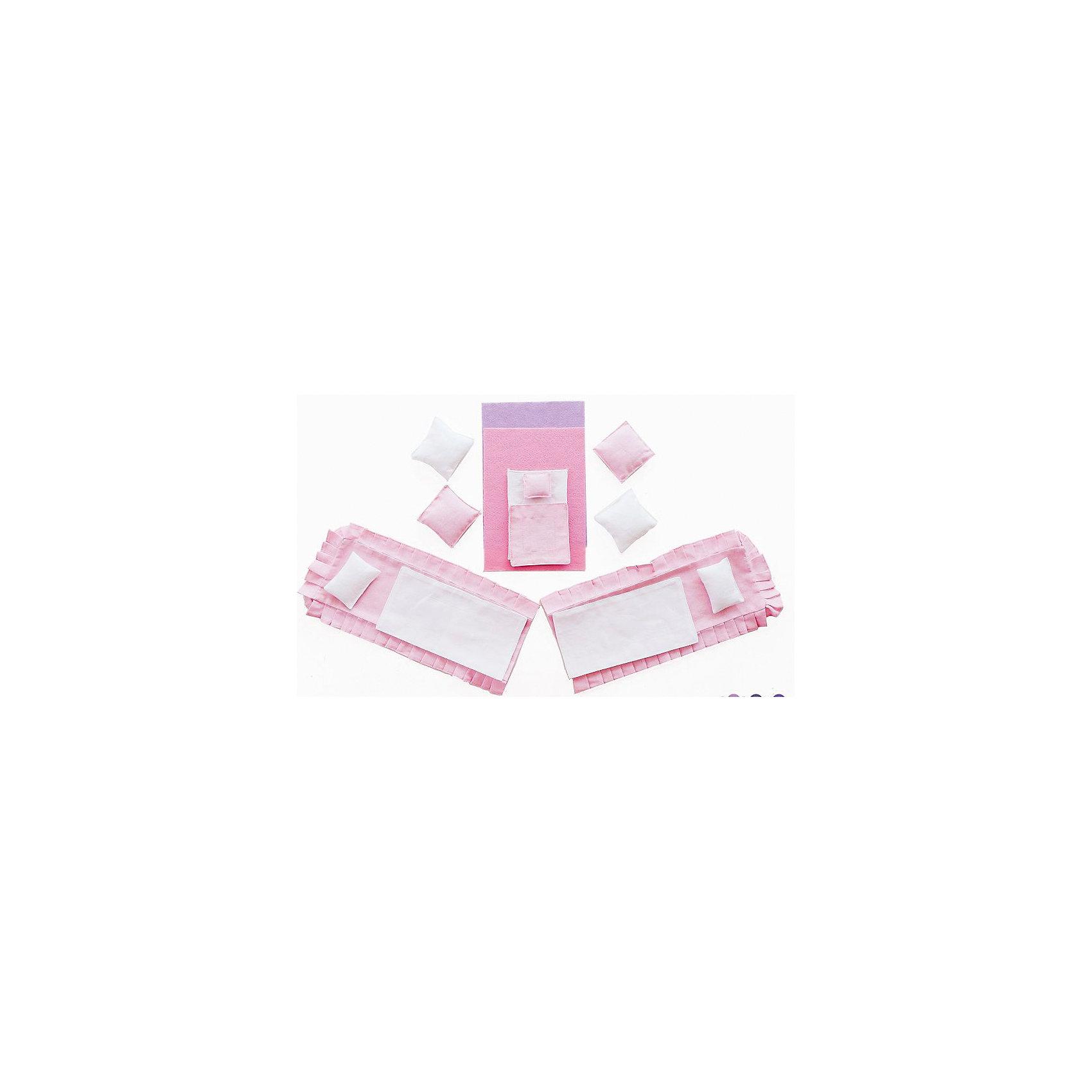 Набор текстиля для розовых домиков, Вдохновение, PAREMOНабор текстиля для розовых домиков, Вдохновение, PAREMO (Паремо).<br><br>Характеристики:<br><br>• Материал: текстиль<br>• Размер упаковки (см) 33х30х10<br>• Вес (кг) 0.2<br><br>В комплект входит 15 предметов: <br><br>• Для кукольных кроватей (по 2 шт.) - розовые простыни, белые одеяла, белые прямоугольные подушки.<br>• Для люльки - белая простыня, розовое одеяльце, розовая подушечка. <br>• Для дивана - 4 большие подушки (2 - розовые, 2 - белые).<br>• Розовый коврик в спальню.<br>• Сиреневый коврик в гостиную.<br><br>С таким набором текстиля прелестный розовый домик «Вдохновение» примет законченный вид. Мягкие подушечки, постельные принадлежности, а также коврики создадут теплую уютную атмосферу игрушечного домика. Ваша девочка почувствует себя настоящей хозяйкой очаровательного домика!<br><br>Набор текстиля для розовых домиков, Вдохновение, PAREMO (Паремо), можно купить в нашем интернет – магазине.<br><br>Ширина мм: 300<br>Глубина мм: 330<br>Высота мм: 10<br>Вес г: 200<br>Возраст от месяцев: 36<br>Возраст до месяцев: 120<br>Пол: Женский<br>Возраст: Детский<br>SKU: 4979523