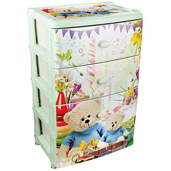 Комод широкий Мульти-пульти 4-х секцион. ,  AlternativaДетские комоды<br>Комод Мульти-пульти оптимально широкий и вместительный. Он состоит четырех выдвижных ящиков, в которых удобно хранить игрушки или детскую одежду. Снаружи декорирован рисунком с изображением праздника медвежат.  Отличный выбор для детской комнаты!<br><br>Дополнительная информация:<br>Размер: 42,5х56х90,5 см<br>Материал: пластик<br><br>Комод Мульти-пульти можно купить в нашем интернет-магазине.<br>Ширина мм: 425; Глубина мм: 560; Высота мм: 905; Вес г: 6199; Возраст от месяцев: 36; Возраст до месяцев: 144; Пол: Унисекс; Возраст: Детский; SKU: 4979713;
