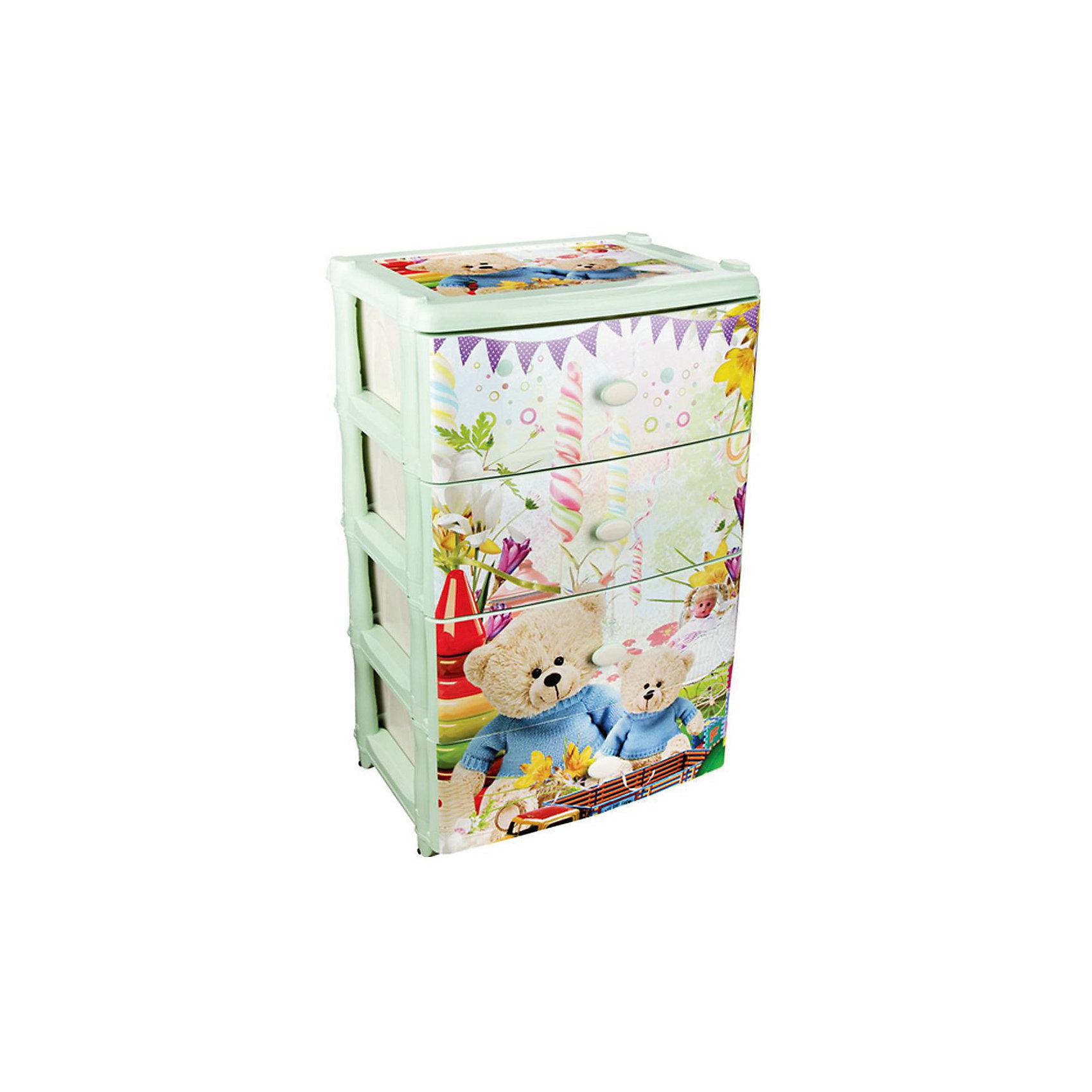 Комод широкий Мульти-пульти 4-х секцион. ,  AlternativaКомод Мульти-пульти оптимально широкий и вместительный. Он состоит четырех выдвижных ящиков, в которых удобно хранить игрушки или детскую одежду. Снаружи декорирован рисунком с изображением праздника медвежат.  Отличный выбор для детской комнаты!<br><br>Дополнительная информация:<br>Размер: 42,5х56х90,5 см<br>Материал: пластик<br><br>Комод Мульти-пульти можно купить в нашем интернет-магазине.<br><br>Ширина мм: 425<br>Глубина мм: 560<br>Высота мм: 905<br>Вес г: 6199<br>Возраст от месяцев: 36<br>Возраст до месяцев: 144<br>Пол: Унисекс<br>Возраст: Детский<br>SKU: 4979713