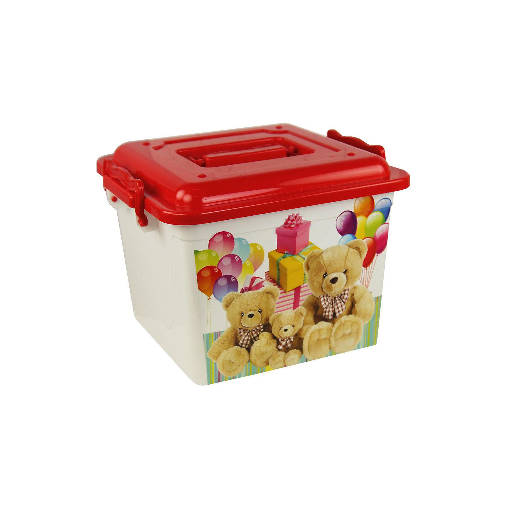 Контейнер Мишки универсальный 8,5л. ,  AlternativaПорядок в детской<br>Универсальный контейнер Мишки очень вместительный и удобный в использовании. В нем можно хранить детские игрушки или приятные мелочи. Контейнер закрывается крышкой и закрепляется боковыми ручками. Верхнюю ручку можно использовать для переноски. Спереди контейнер украшен очаровательными медвежатами.<br><br>Дополнительная информация:<br>Материал: пластик<br>Объем: 8,5 л<br>Размер: 26х26х20 см<br><br>Контейнер Мишки можно купить в нашем интернет-магазине.<br><br>Ширина мм: 260<br>Глубина мм: 260<br>Высота мм: 200<br>Вес г: 415<br>Возраст от месяцев: 36<br>Возраст до месяцев: 144<br>Пол: Унисекс<br>Возраст: Детский<br>SKU: 4979717