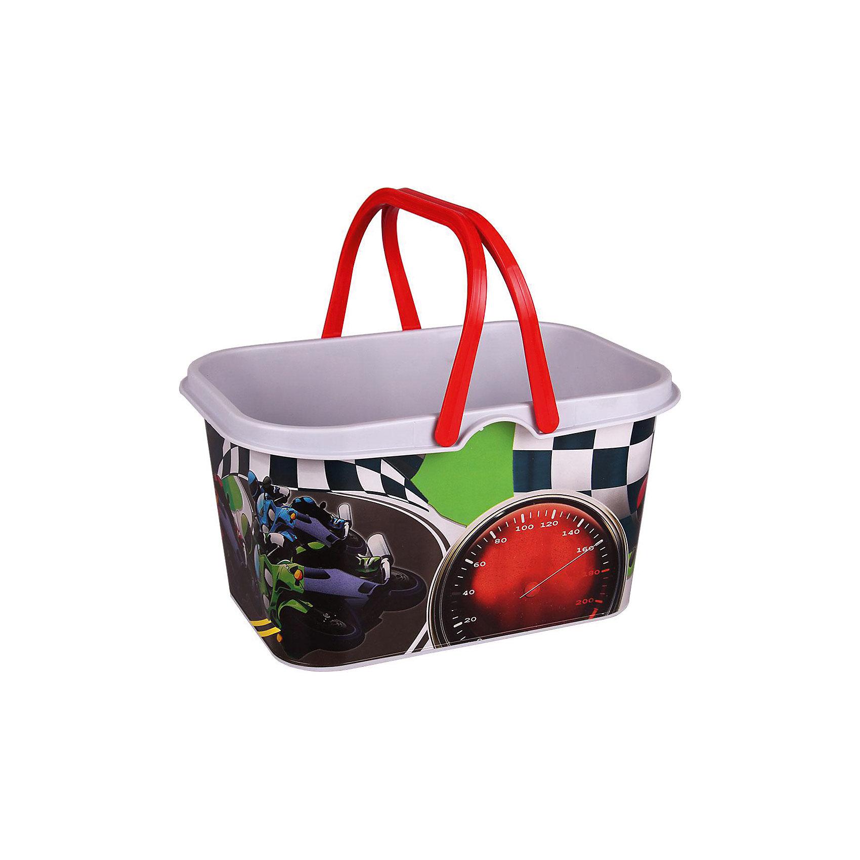 Корзина игрушечная Лидер 4,3л. с руч.,  AlternativaПорядок в детской<br>Корзина Лидер изготовлена из пластика и имеет две удобные ручки. В ней будет удобно хранить игрушки или различные мелочи. Яркий рисунок с гонками точно не оставит ребенка равнодушным!<br><br>Дополнительная информация:<br>Материал: пластик<br>Объем: 4,3 л<br>Размер: 25,6х17,5х13 см<br><br>Корзину Лидер можно приобрести в нашем интернет-магазине.<br><br>Ширина мм: 256<br>Глубина мм: 175<br>Высота мм: 130<br>Вес г: 164<br>Возраст от месяцев: 36<br>Возраст до месяцев: 144<br>Пол: Унисекс<br>Возраст: Детский<br>SKU: 4979737