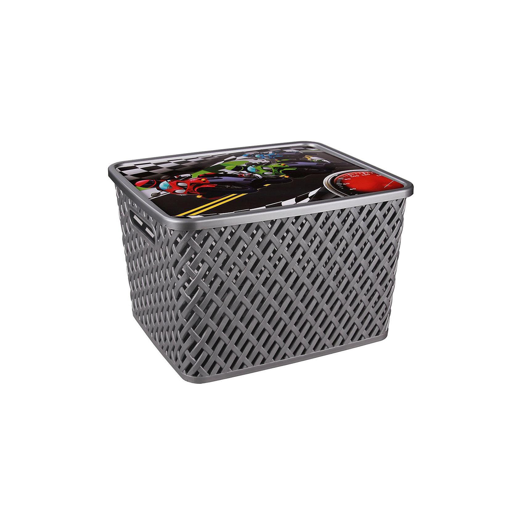 Корзина универс. Лидер с крыш.,  Alternativa, больш.Универсальная плетеная корзина Лидер изготовлена из качественного пластика, закрывается крышкой с изображением гонок. В ней будет удобно хранить различные мелочи или игрушки.<br><br>Дополнительная информация:<br>Материал: пластик<br>Цвет: серебро<br>Размер: 35х29х22,5 см<br><br>Корзину Лидер вы можете приобрести в нашем интернет-магазине.<br><br>Ширина мм: 350<br>Глубина мм: 290<br>Высота мм: 225<br>Вес г: 676<br>Возраст от месяцев: 36<br>Возраст до месяцев: 144<br>Пол: Унисекс<br>Возраст: Детский<br>SKU: 4979738