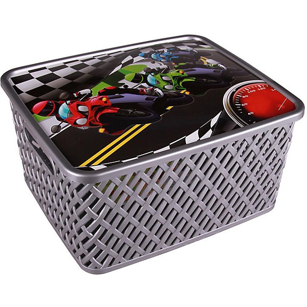 Корзина универс. Лидер с крыш.,  Alternativa, мал.Корзины для игрушек<br>Универсальная плетеная корзина Лидер изготовлена из качественного пластика, закрывается крышкой с изображением гонок. В ней будет удобно хранить различные мелочи или игрушки.<br><br>Дополнительная информация:<br>Материал: пластик<br>Цвет: серебро<br>Размер: 35х29х17,5 см<br><br>Корзину Лидер вы можете приобрести в нашем интернет-магазине.<br><br>Ширина мм: 355<br>Глубина мм: 300<br>Высота мм: 175<br>Вес г: 626<br>Возраст от месяцев: 36<br>Возраст до месяцев: 144<br>Пол: Унисекс<br>Возраст: Детский<br>SKU: 4979739