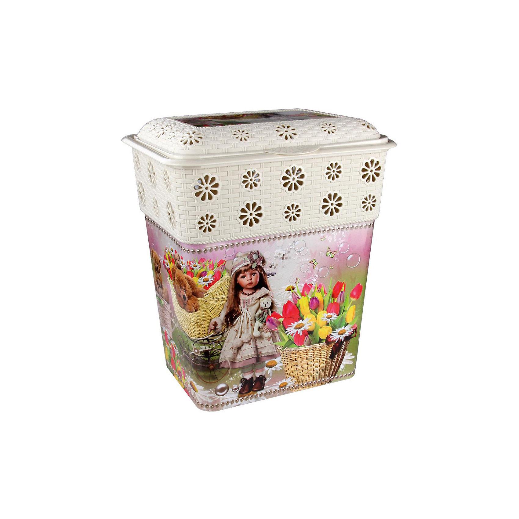 Корзина универсальная Юная красавица 60л.,  AlternativaУниверсальная корзина Юная красавица достаточно вместительная для хранения различных мелочей и безделушек. Она закрывается крышкой и декорирована милым рисунком с девочкой, цветами и медвежатами. Корзина с приятным дизайном прекрасно впишется в интерьер вашего дома!<br><br>Дополнительная информация:<br>Материал: пластик<br>Размер: 47х37х56 см<br>Объем: 60л<br><br>Корзину Юная красавица можно купить в нашем интернет-магазине.<br><br>Ширина мм: 470<br>Глубина мм: 370<br>Высота мм: 560<br>Вес г: 1745<br>Возраст от месяцев: 36<br>Возраст до месяцев: 144<br>Пол: Унисекс<br>Возраст: Детский<br>SKU: 4979745