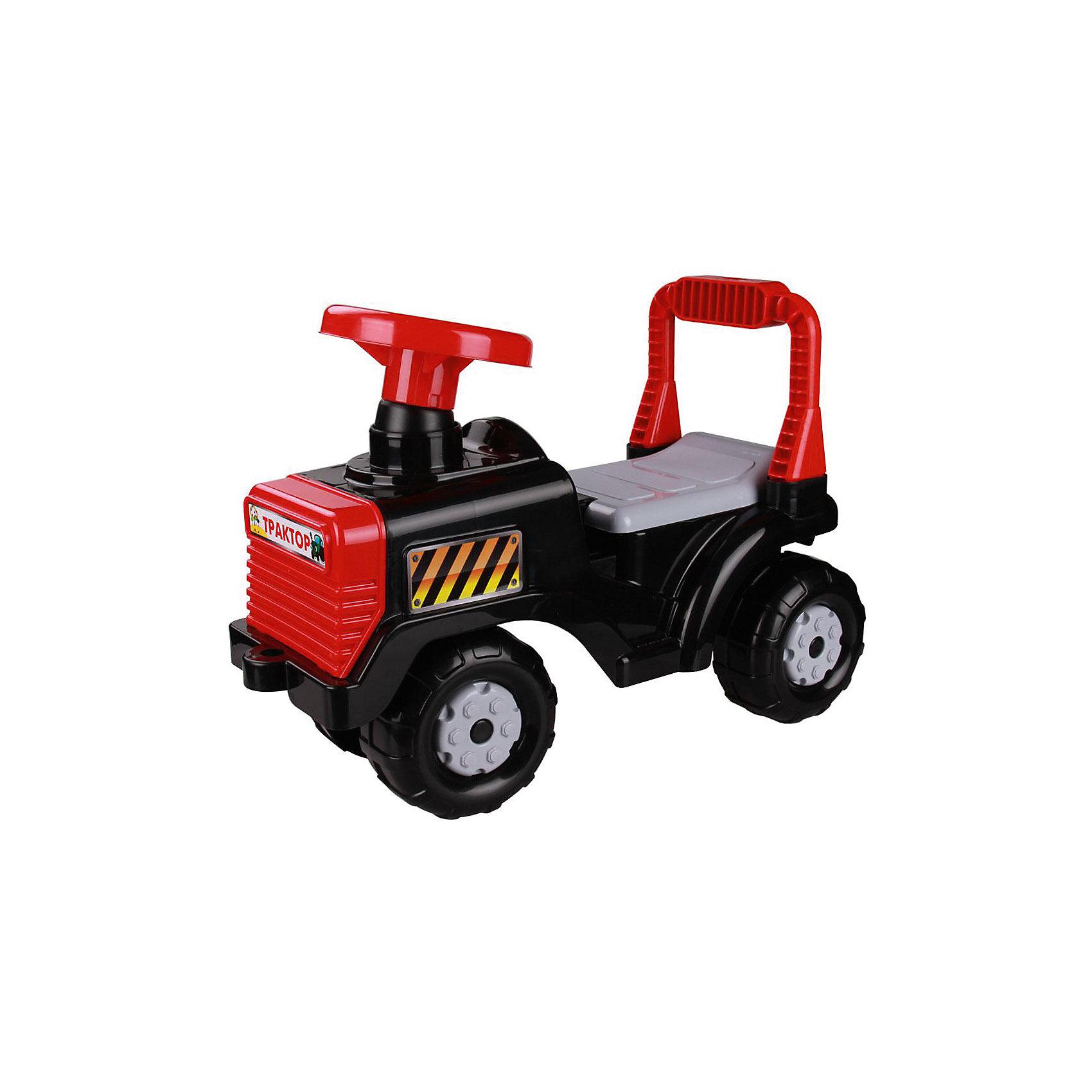 Машинка детская Трактор ,  Alternativa, чёрныйМашинки-каталки<br>Детская машинка Трактор изготовлена из пластика и имеет очень приятный дизайн. У трактора есть большой руль, четыре крупных колеса и удобная спинка-ручка. Такая яркая машинка обязательно понравится мальчику!<br><br>Дополнительная информация:<br>Материал: пластик<br>Цвет: черный<br>Размер: 57х27х42 см<br><br>Машинку Трактор можно купить в нашем интернет-магазине.<br><br>Ширина мм: 0<br>Глубина мм: 0<br>Высота мм: 0<br>Вес г: 18<br>Возраст от месяцев: 36<br>Возраст до месяцев: 144<br>Пол: Унисекс<br>Возраст: Детский<br>SKU: 4979760