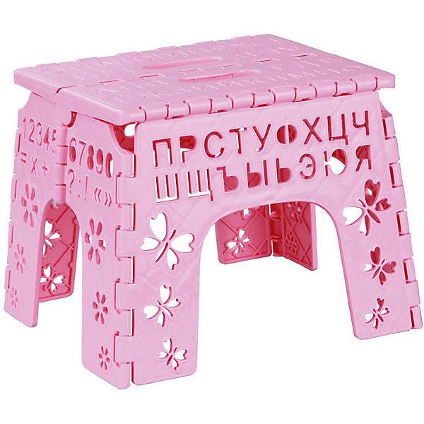 Табурет складной детский Алфавит,  Alternativa, розовыйДетские столы и стулья<br>Табурет Алфавит легко складывается и раскладывается. В сложенном виде очень компактный, благодаря чему, его удобно брать с собой. Табурет украшен вырезами с буквами, цифрами, бабочками и цветочками. Отличный повод повторить алфавит!<br><br>Дополнительная информация:<br>Цвет: розовый<br>Материал: пластик<br>Размер: 26х23х20 см<br>Толщина в сложенном виде: 3,5 см<br>Высота в сложенном виде: 30,5 см<br><br>Складной табурет Алфавит вы можете приобрести в нашем интернет-магазине.<br>Ширина мм: 260; Глубина мм: 230; Высота мм: 200; Вес г: 464; Возраст от месяцев: 36; Возраст до месяцев: 144; Пол: Унисекс; Возраст: Детский; SKU: 4979778;