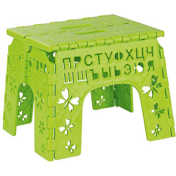 Табурет складной детский Алфавит,  Alternativa, салатовыйДетские столы и стулья<br>Табурет Алфавит легко складывается и раскладывается. В сложенном виде очень компактный, благодаря чему, его удобно брать с собой. Табурет украшен вырезами с буквами, цифрами, бабочками и цветочками. Отличный повод повторить алфавит!<br><br>Дополнительная информация:<br>Цвет: салатовый<br>Материал: пластик<br>Размер: 26х23х20 см<br>Толщина в сложенном виде: 3,5 см<br>Высота в сложенном виде: 30,5 см<br><br>Складной табурет Алфавит вы можете приобрести в нашем интернет-магазине.<br>Ширина мм: 230; Глубина мм: 200; Высота мм: 260; Вес г: 464; Возраст от месяцев: 36; Возраст до месяцев: 144; Пол: Унисекс; Возраст: Детский; SKU: 4979779;