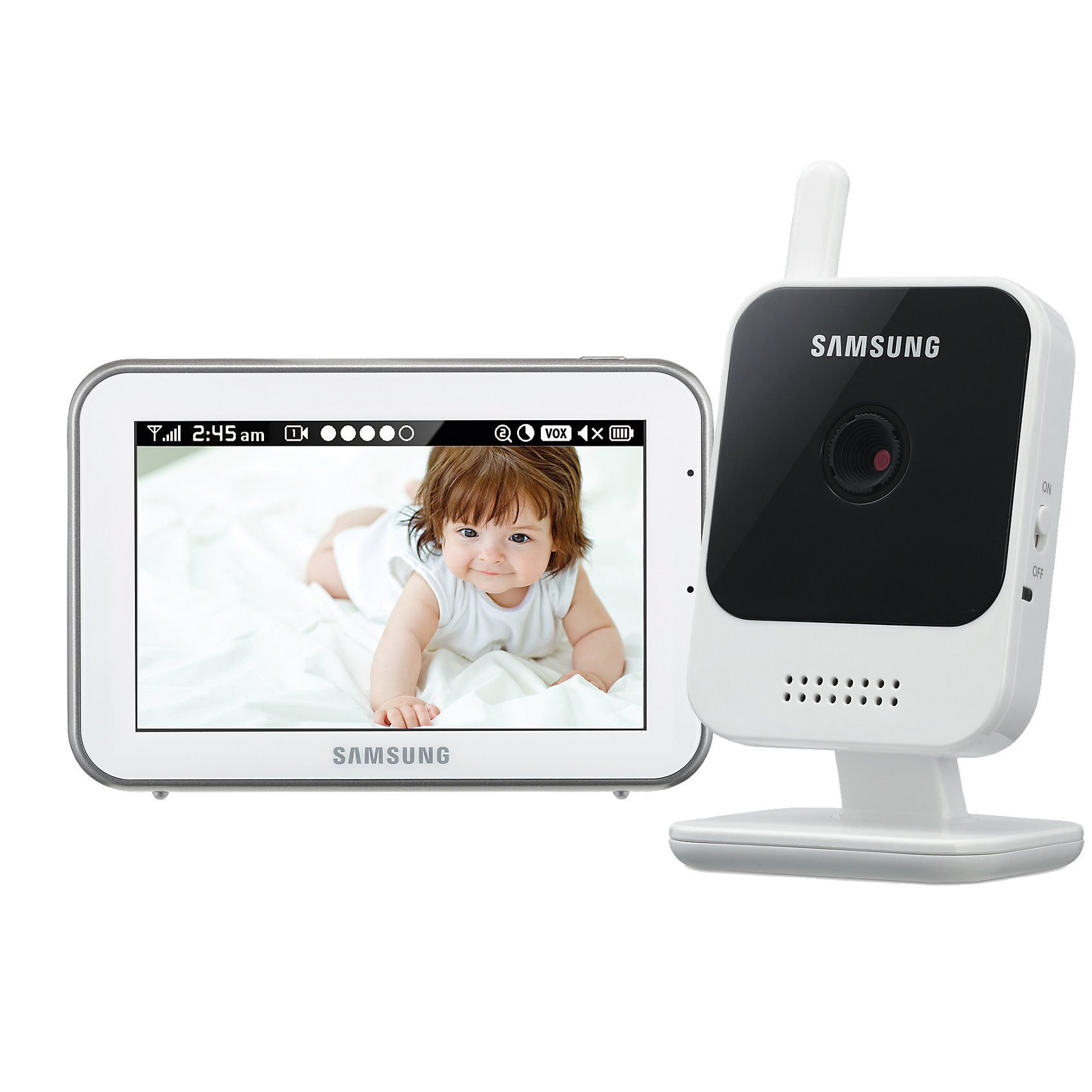 Видеоняня Sew-3042, SamsungДетская бытовая техника<br>Цифровая, дальность 300 м. Высокое качество изображения и звука. Камера HD 720p. Монитор 800х480px. Наклок камеры регулируется вручную. Дисплей 12,7 см (5 дюймов). Сенсорный экран. Двухсторонняя связь, колыбельные, VOX, ночное видение. Подавление помех.<br><br>Ширина мм: 290<br>Глубина мм: 236<br>Высота мм: 119<br>Вес г: 1036<br>Цвет: черный/белый<br>Возраст от месяцев: 0<br>Возраст до месяцев: 12<br>Пол: Унисекс<br>Возраст: Детский<br>SKU: 4980595