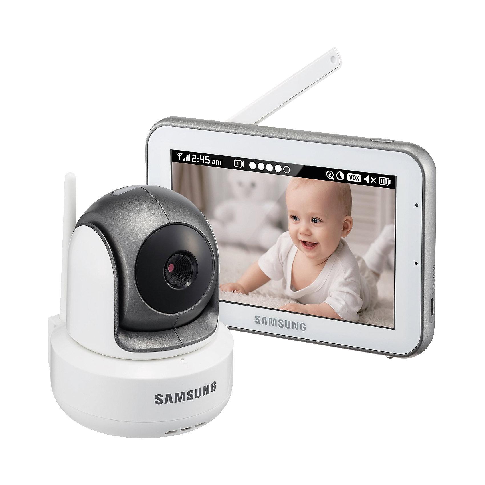 Видеоняня  с поворотной камерой Sew-3043, SamsungЦифровая, дальность 300 м. Высокое качество изображения и звука. Камера HD 720p. Монитор 800х480px. Поворотная камера угол поворота по ширине 300 градусов, по высоте 110. Дисплей 12,7 см (5 дюймов). Сенсорный экран. Двухсторонняя связь, колыбельные, VOX, ночное видение. Подавление помех.<br><br>Ширина мм: 250<br>Глубина мм: 120<br>Высота мм: 250<br>Вес г: 1275<br>Цвет: черный/белый<br>Возраст от месяцев: 0<br>Возраст до месяцев: 12<br>Пол: Унисекс<br>Возраст: Детский<br>SKU: 4980596