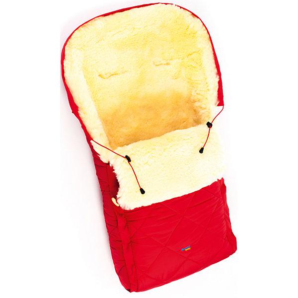 Конверт в коляску натур овчина, Ramili, красный