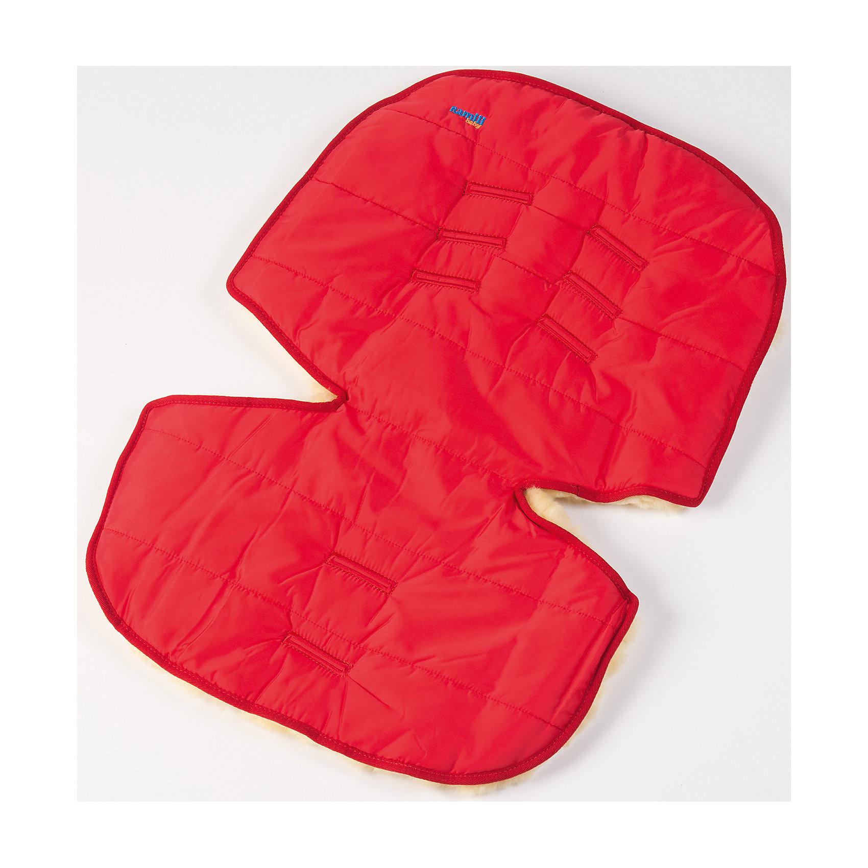 Меховой коврик для коляски и автокресла,  Ramili, красныйХарактеристики:<br><br>• Предназначение: для прогулок, для игр<br>• Сезон: зима<br>• Пол: универсальный<br>• Цвет: красный<br>• Коллекция: Classic <br>• Состав: овчина, 100%<br>• Предусмотрены прорези для ремней безопасности<br>• Размеры конверта (Д*Ш): 70*30 см<br>• Вес с упаковкой: 2 кг <br>• Уход: машинная стирка при температуре не более 40 градусов<br><br>Меховой коврик для коляски и автокресла, Ramili, красный изготовлен по британской технологии с соблюдением всех норм и требований к безопасности для изделий, предназначенных для новорожденных.Тыльная сторона коврика выполнена из плащевой ткани, которая обеспечивает защиту от ветра и влаги, при этом обладает высокими износоустойчивыми свойствами; внешняя часть – из натуральной овчины, выделанной по специализированной технологии обработки, при которой не используются красители и химические вещества. При этом при обработке сохраняются свойства натуральной овчины и завиток, который обеспечивает повышенные теплоизоляционные свойства. Изделие обладает высокими гипоаллергенными свойствами. Коврик имеет уникальную форму, благодаря чему он подходит практически для всех моделей колясок и автокресел. Также его можно использовать для игр ребенка на полу.<br>Меховой коврик для коляски и автокресла, Ramili, красный – это качественные, комфортные и многофункциональные изделия для самых маленьких!<br><br>Меховой коврик для коляски и автокресла, Ramili, красный можно купить в нашем интернет-магазине.<br><br>Ширина мм: 700<br>Глубина мм: 500<br>Высота мм: 50<br>Вес г: 500<br>Возраст от месяцев: 0<br>Возраст до месяцев: 12<br>Пол: Унисекс<br>Возраст: Детский<br>SKU: 4980607