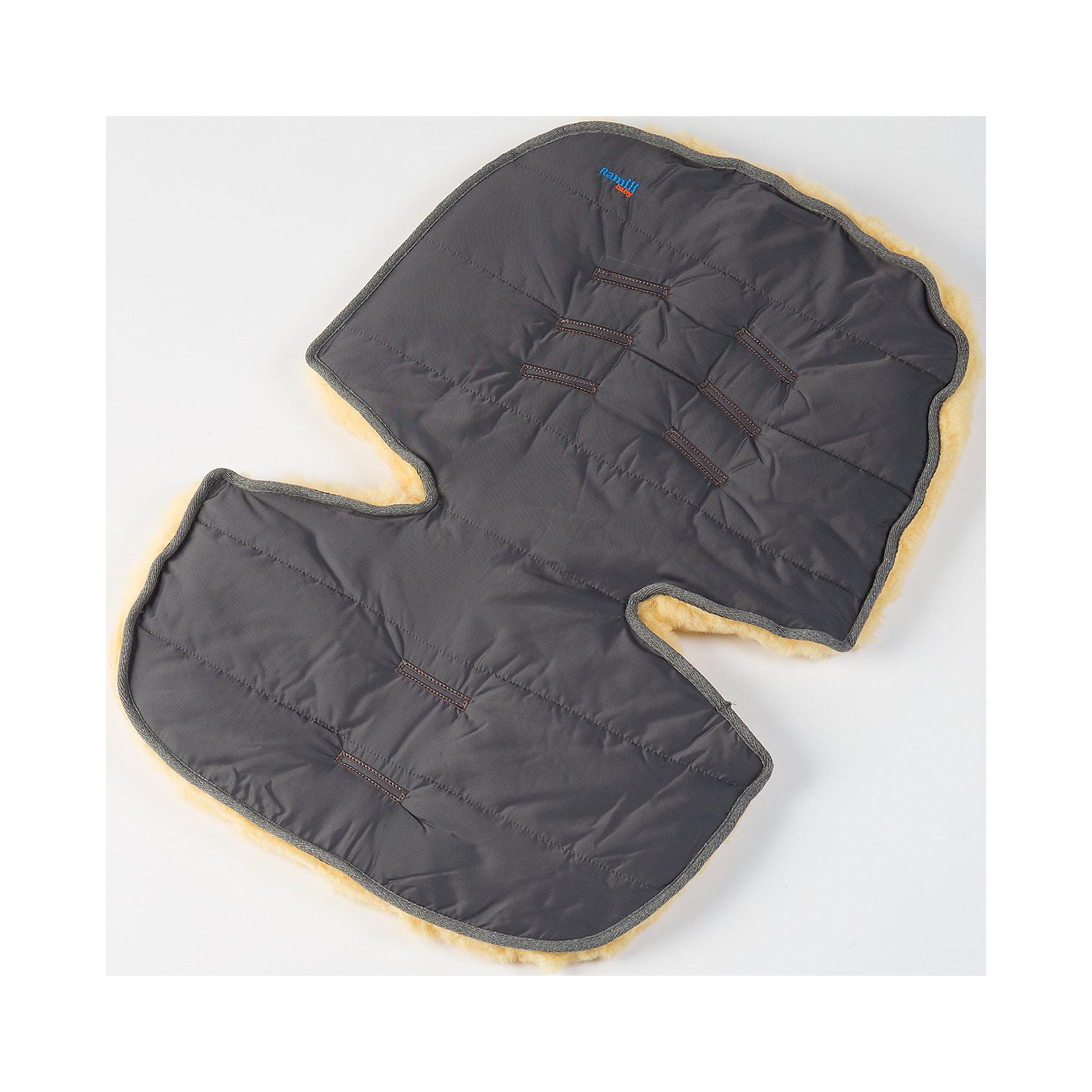 Меховой коврик для коляски и автокресла,  Ramili, серыйХарактеристики:<br><br>• Предназначение: для прогулок, для игр<br>• Сезон: зима<br>• Пол: универсальный<br>• Цвет: серый<br>• Коллекция: Classic <br>• Состав: овчина, 100%<br>• Предусмотрены прорези для ремней безопасности<br>• Размеры конверта (Д*Ш): 70*30 см<br>• Вес с упаковкой: 2 кг <br>• Уход: машинная стирка при температуре не более 40 градусов<br><br>Меховой коврик для коляски и автокресла, Ramili, серый изготовлен по британской технологии с соблюдением всех норм и требований к безопасности для изделий, предназначенных для новорожденных.Тыльная сторона коврика выполнена из плащевой ткани, которая обеспечивает защиту от ветра и влаги, при этом обладает высокими износоустойчивыми свойствами; внешняя часть – из натуральной овчины, выделанной по специализированной технологии обработки, при которой не используются красители и химические вещества. При этом при обработке сохраняются свойства натуральной овчины и завиток, который обеспечивает повышенные теплоизоляционные свойства. Изделие обладает высокими гипоаллергенными свойствами. Коврик имеет уникальную форму, благодаря чему он подходит практически для всех моделей колясок и автокресел. Также его можно использовать для игр ребенка на полу.<br>Меховой коврик для коляски и автокресла, Ramili, серый – это качественные, комфортные и многофункциональные изделия для самых маленьких!<br><br>Меховой коврик для коляски и автокресла, Ramili, серый можно купить в нашем интернет-магазине.<br><br>Ширина мм: 700<br>Глубина мм: 500<br>Высота мм: 50<br>Вес г: 500<br>Возраст от месяцев: 0<br>Возраст до месяцев: 12<br>Пол: Унисекс<br>Возраст: Детский<br>SKU: 4980608