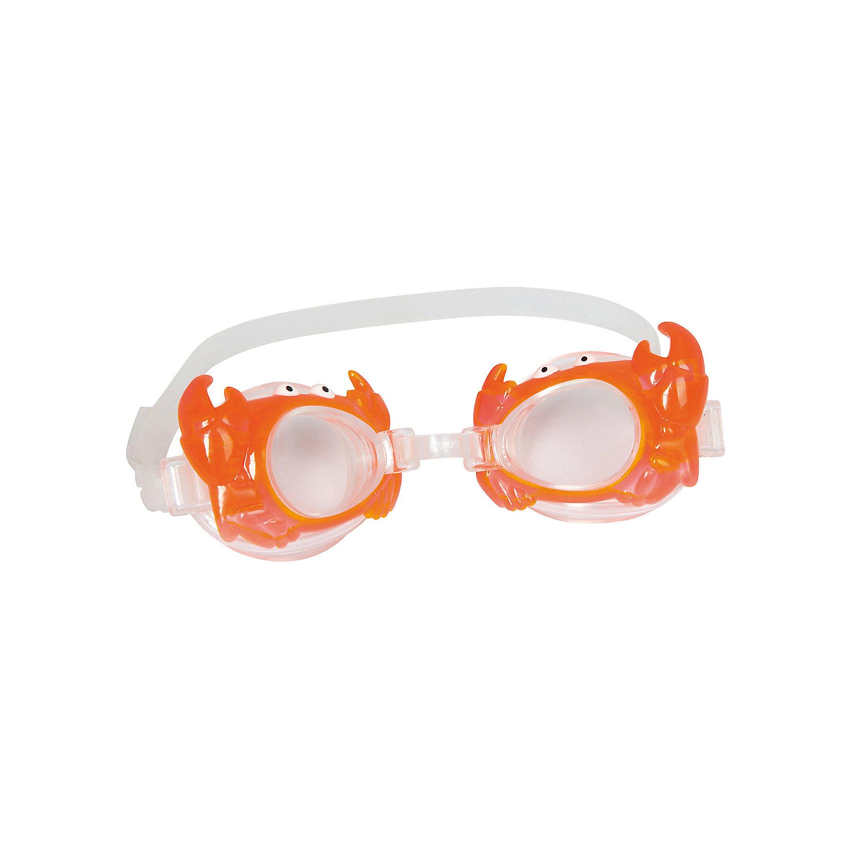 Очки для плавания детские, Bestway, оранжевыеДетские очки для плавания морские животные, Bestway, замечательно подойдут тем, кто только учится плавать. Очки выполнены в оригинальном дизайне в форме морских обитателей. Качественный ударопрочный материал не раздражает кожу и полностью безопасен для детского<br>здоровья. Очки оснащены линзами со специальным покрытием для предотвращения запотевания, плотно прилегают к лицу и надёжно фиксируются регулируемым ремешком. Оправа из гипоаллергенного и мягкого на ощупь термопластика обеспечивают комфорт во время использования. В ассортименте 4 дизайна в виде морских животных. Подходит для детей от 3 лет.<br><br>Дополнительная информация:<br><br>- Материал: поликарбонат, резина/латекс.<br>- Размер упаковки: 20 х 10 х 3 см.<br>- Вес: 17 гр.<br><br>Очки для плавания детские, морские животные в ассортименте, Bestway, можно купить в нашем интернет-магазине.<br><br>ВНИМАНИЕ! Данный артикул имеется в наличии в разных вариантах исполнения. Заранее выбрать определенный вариант нельзя. При заказе нескольких наборов возможно получение одинаковых.<br><br>Ширина мм: 205<br>Глубина мм: 168<br>Высота мм: 36<br>Вес г: 70<br>Возраст от месяцев: 36<br>Возраст до месяцев: 2147483647<br>Пол: Унисекс<br>Возраст: Детский<br>SKU: 4980618