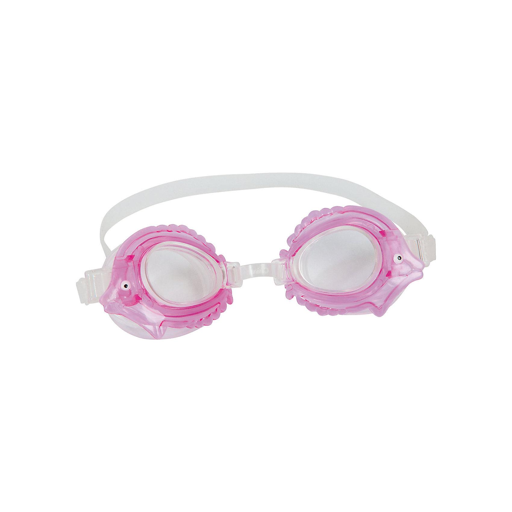 Очки для плавания детские, Bestway, розовыеДетские очки для плавания морские животные, Bestway, замечательно подойдут тем, кто только учится плавать. Очки выполнены в оригинальном дизайне в форме морских обитателей. Качественный ударопрочный материал не раздражает кожу и полностью безопасен для детского<br>здоровья. Очки оснащены линзами со специальным покрытием для предотвращения запотевания, плотно прилегают к лицу и надёжно фиксируются регулируемым ремешком. Оправа из гипоаллергенного и мягкого на ощупь термопластика обеспечивают комфорт во время использования. В ассортименте 4 дизайна в виде морских животных. Подходит для детей от 3 лет.<br><br>Дополнительная информация:<br><br>- Материал: поликарбонат, резина/латекс.<br>- Размер упаковки: 20 х 10 х 3 см.<br>- Вес: 17 гр.<br><br>Очки для плавания детские, морские животные в ассортименте, Bestway, можно купить в нашем интернет-магазине.<br><br>ВНИМАНИЕ! Данный артикул имеется в наличии в разных вариантах исполнения. Заранее выбрать определенный вариант нельзя. При заказе нескольких наборов возможно получение одинаковых.<br><br>Ширина мм: 205<br>Глубина мм: 168<br>Высота мм: 36<br>Вес г: 72<br>Возраст от месяцев: 36<br>Возраст до месяцев: 2147483647<br>Пол: Унисекс<br>Возраст: Детский<br>SKU: 4980620