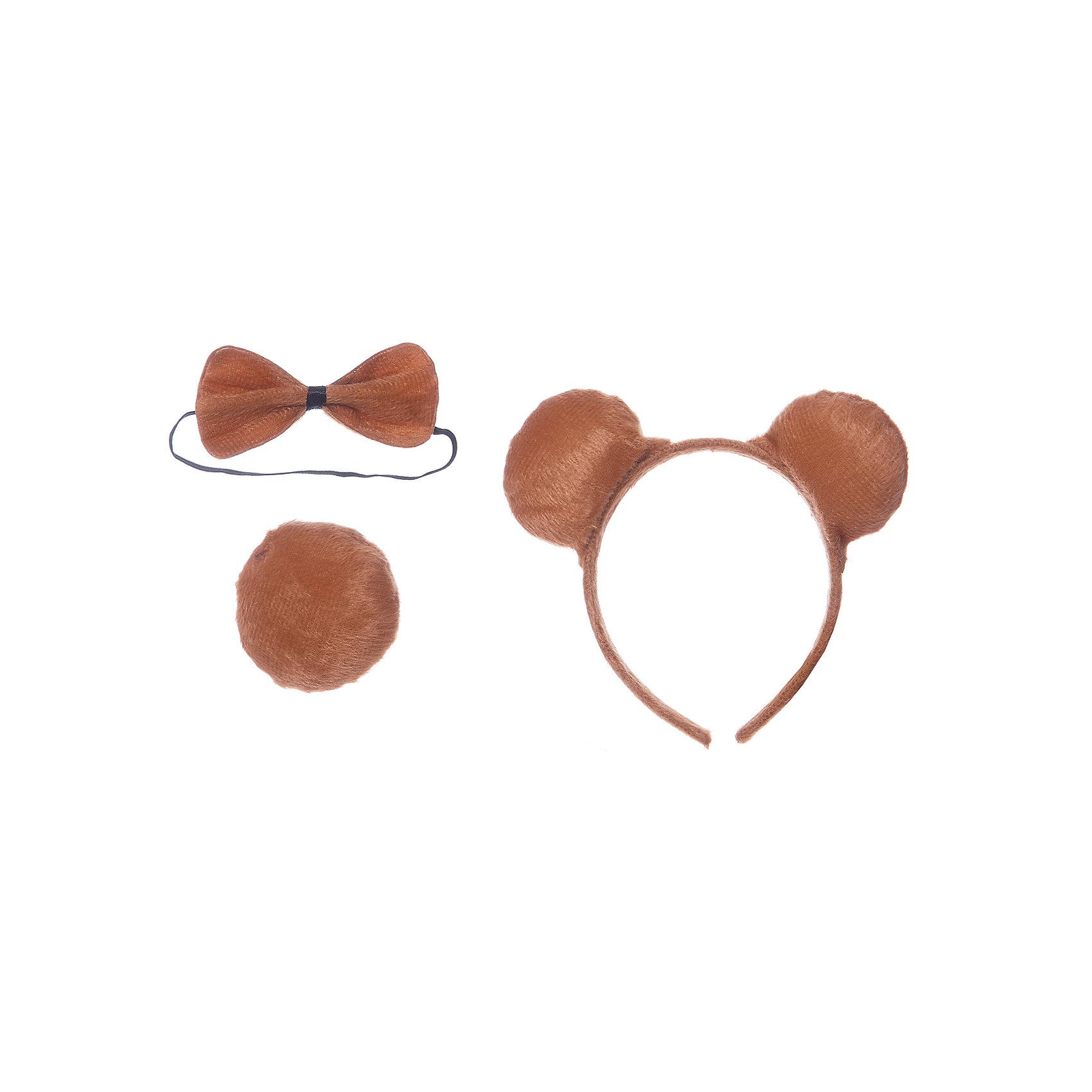 Маскарадный набор Медвежонок (3 предмета)Карнавальные аксессуары для детей<br>С этим замечательным набором ваш ребенок очень быстро перевоплотится в веселого озорного медвежонка! Маскарадный набор Медвежонок- прекрасный вариант для веселого праздника или же небольшого новогоднего презента.  <br><br>Дополнительная информация:<br><br>- Материал: полиэстер, пластик. <br>- Размер: 20х25 см. <br>- Комплектация: галстук-бабочка, ободок, хвостик.<br><br>Маскарадный набор Медвежонок (3 предмета) можно купить в нашем магазине.<br><br>Ширина мм: 230<br>Глубина мм: 220<br>Высота мм: 10<br>Вес г: 35<br>Возраст от месяцев: 36<br>Возраст до месяцев: 2147483647<br>Пол: Мужской<br>Возраст: Детский<br>SKU: 4981307