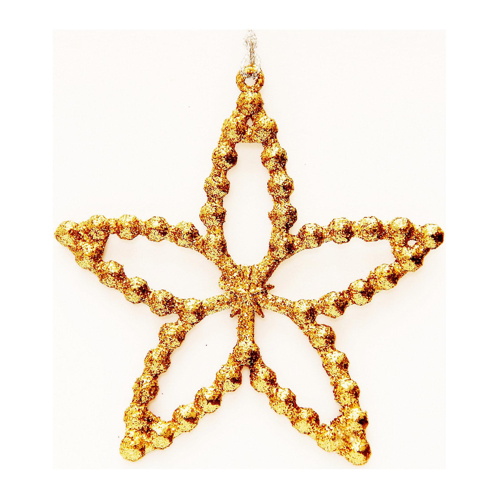 Украшение Золотая звездочкаОригинальное подвесное украшение станет прекрасным памятным сувениром и займет достойное место на новогодней елке.<br><br>Дополнительная информация:<br><br>- Материал: полипропилен. <br>- Размер: 10 см. <br><br>Украшение Золотая звездочка можно купить в нашем магазине.<br><br>Ширина мм: 120<br>Глубина мм: 120<br>Высота мм: 60<br>Вес г: 270<br>Возраст от месяцев: 36<br>Возраст до месяцев: 2147483647<br>Пол: Унисекс<br>Возраст: Детский<br>SKU: 4981339