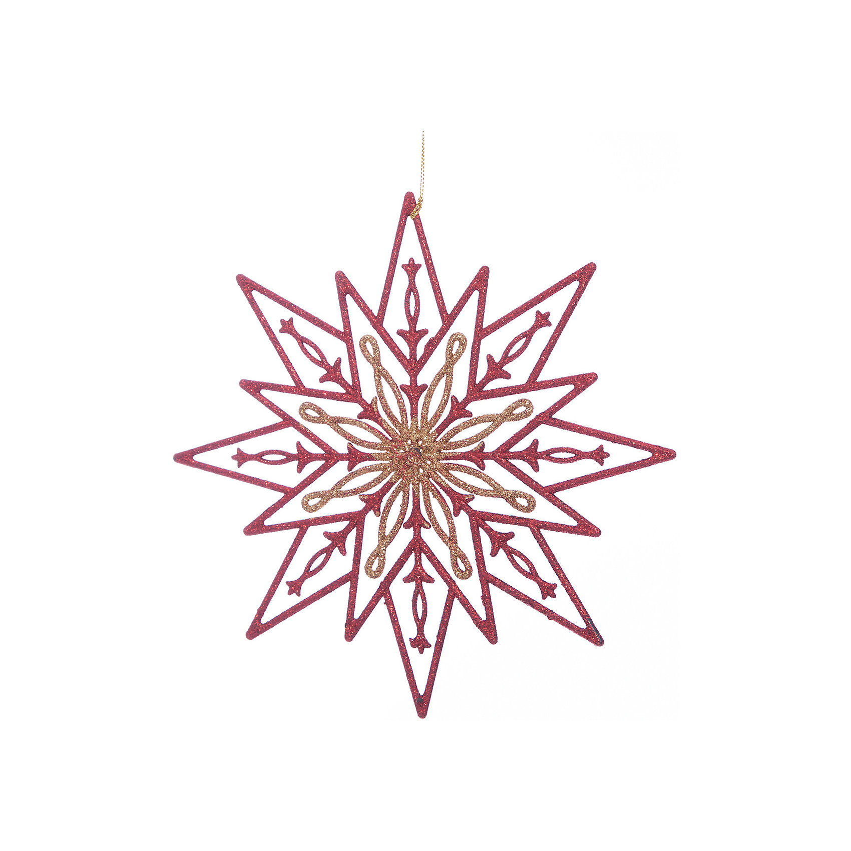 Украшение Золотая с красным снежинкаЁлочные игрушки<br>Новый год - самый любимый праздник у многих детей и взрослых. Праздничное настроение создает в первую очередь украшенный дом и, особенно, наряженная ёлка. Будь она из леса или искусственная - такая подвесная игрушка украсит любую!<br>Она сделана из безопасного для детей, прочного, но легкого, материала, поэтому не разобьется, упав на пол. Благодаря расцветке украшение отлично смотрится на ёлке. Создайте с ним праздничное настроение себе и близким!<br><br>Дополнительная информация:<br><br>цвет: красный, золотой;<br>материал: полипропилен;<br>размер: 24 см.<br><br>Украшение Золотая с красным снежинка можно купить в нашем магазине.<br><br>Ширина мм: 240<br>Глубина мм: 120<br>Высота мм: 60<br>Вес г: 280<br>Возраст от месяцев: 36<br>Возраст до месяцев: 2147483647<br>Пол: Унисекс<br>Возраст: Детский<br>SKU: 4981342