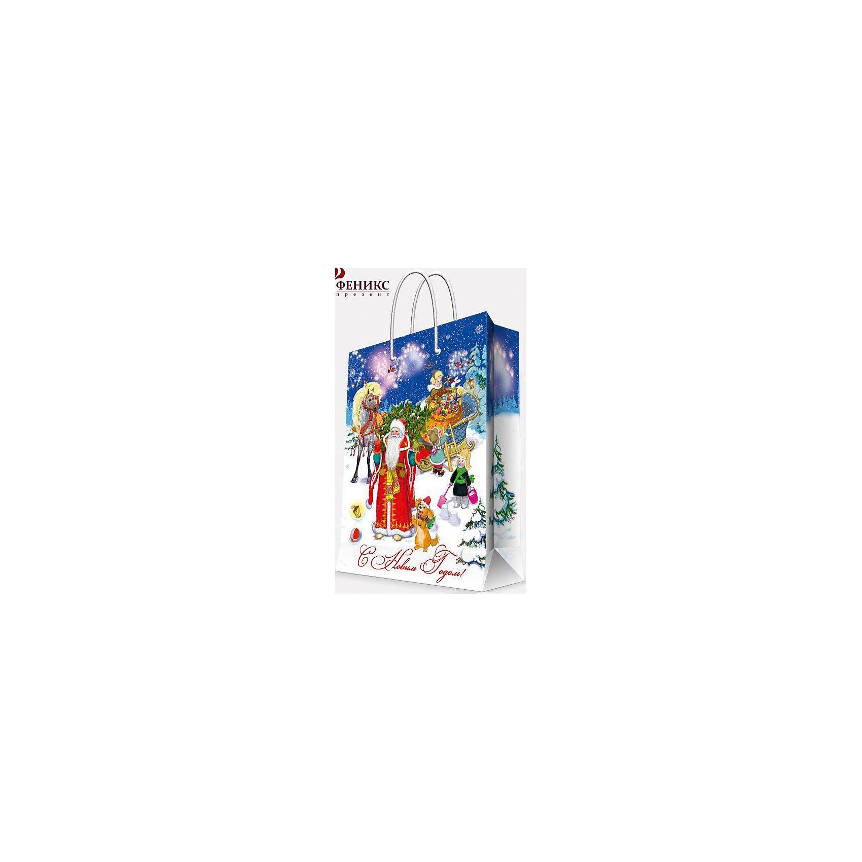 Magic Time Подарочный пакет Дед Мороз  Ёлкой 26*32,4*12,7 см magic time подарочный пакет новогодняя лампа 26 32 4 12 7 см