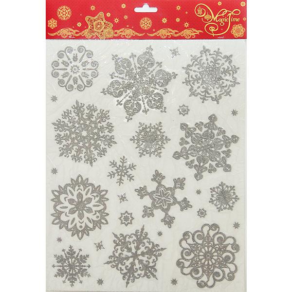 Украшение Серебряные снежинкиНовогодние наклейки на окна<br>Новый год - самый любимый праздник у многих детей и взрослых.  Праздничное настроение создает украшенный дом, наряженная ёлка, запах мандаринов, предновогодняя суета и, конечно же, снежинки на окнах! <br>Этот набор ажурных снежинок легко крепится на окна с помощью эффекта статики, поэтому они не портят стекла, и следы после снежинок не нужно будет потом отмывать! Набор сделан из безопасного для детей, прочного, но легкого, материала. Создайте с ним праздничное настроение себе и близким!<br><br>Дополнительная информация:<br><br>цвет: серебристый;<br>размер: 30 х 38 см.<br><br>Украшение Серебряные снежинки можно купить в нашем магазине.<br>Ширина мм: 100; Глубина мм: 100; Высота мм: 60; Вес г: 75; Возраст от месяцев: 36; Возраст до месяцев: 2147483647; Пол: Унисекс; Возраст: Детский; SKU: 4981399;