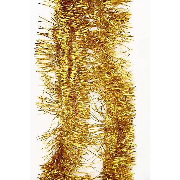 Мишура Золотой 12*200 смНовогодняя мишура и бусы<br>Мишура в  золотом цвете отлично подойдет для украшения к новому году. Длина мишуры позволит украсить не один уголок вашего дома .  Она не будет сыпаться, поэтому останется яркой и блестящей и будет радовать вас ещё не один год. <br><br>Характеристика:<br>-Размер: 12 м 200 см<br>-Цвет: золотой<br>-Арт.: 34880<br><br>Мишуру Золотой можно приобрести в нашем интернет-магазине.<br><br>Ширина мм: 100<br>Глубина мм: 100<br>Высота мм: 60<br>Вес г: 27<br>Возраст от месяцев: 36<br>Возраст до месяцев: 2147483647<br>Пол: Унисекс<br>Возраст: Детский<br>SKU: 4981437