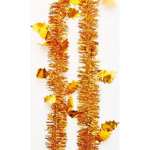 Мишура Золотые листья 6*200 смНовогодняя мишура и бусы<br>Мишура в золотом цвете с листьями отлично подойдет для украшения к новому году. Мишура создаст особую новогоднюю атмосферу, благодаря своему блеску. Она не будет сыпаться, поэтому останется яркой и блестящей и будет радовать вас ещё не один год. <br>Характеристика:<br>-Размер: 6 м 200 см<br>-Цвет: золотой<br>-Арт.: 34902<br><br>Мишуру Золотой с листьями можно приобрести в нашем интернет-магазине.<br>Ширина мм: 100; Глубина мм: 100; Высота мм: 60; Вес г: 18; Возраст от месяцев: 36; Возраст до месяцев: 2147483647; Пол: Унисекс; Возраст: Детский; SKU: 4981446;