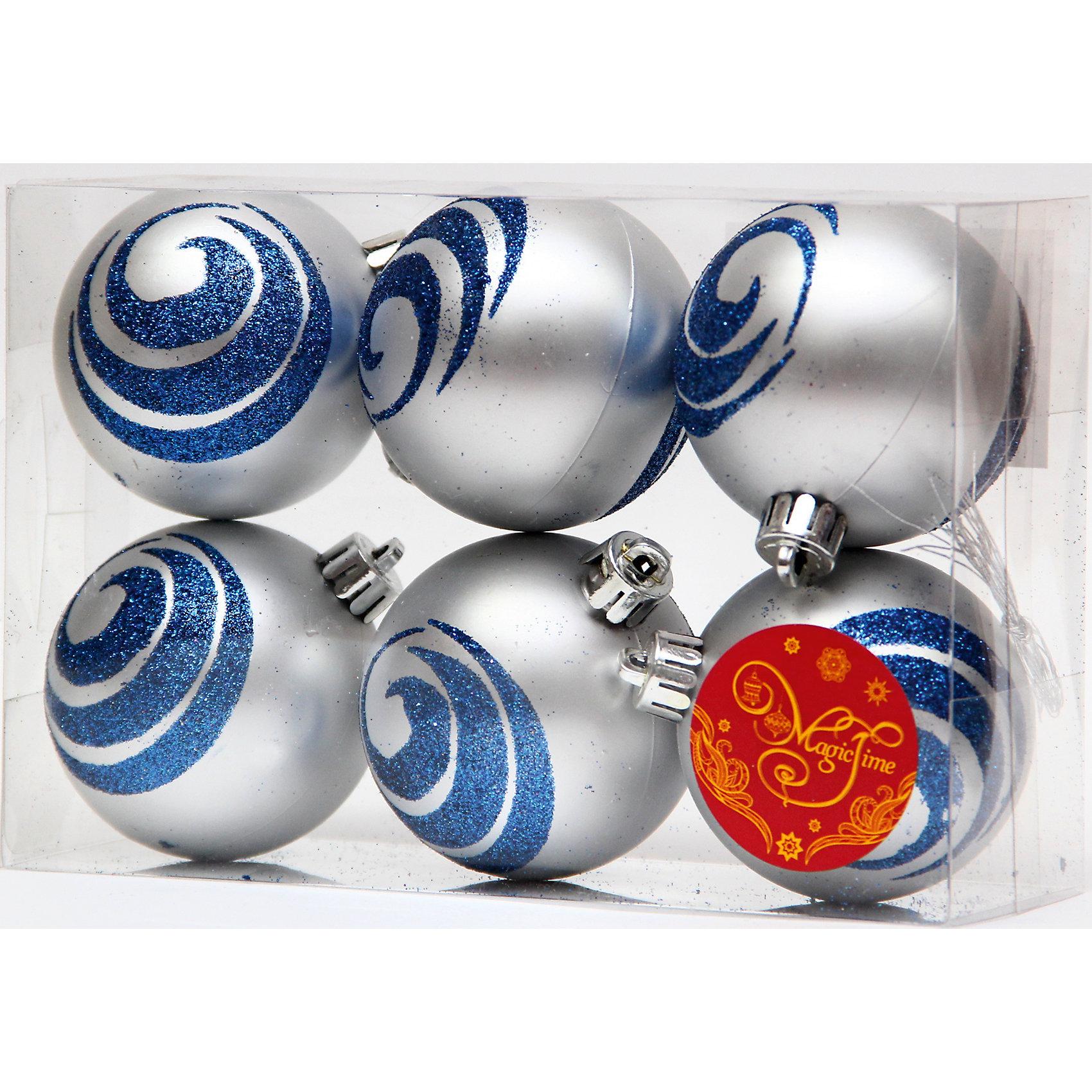 Набор шаров Синие волны 6 штНабор шаров Синие волны 6 шт - впустите атмосферу зимы и праздников в ваш дом! С этими декоративными украшениями так весело наряжать дом и радовать близких. Украшение прекрасно подойдет не только для елочки, но и для других поверхностей, например стенам или шторам. У каждого шарика имеется отверстие для тонкого шнурка (входит в комплект), с помощью которого шарики можно прикреплять. При желании можно использовать другие шнурки на выбор или тонкую ленту. Симпатичные матовые серебряные шарики декорированы темно блестками, чтобы помочь создать идеальную композицию. Шарики изготовлены из синтетического материала и не разобьются в случае падения. <br><br>Дополнительная информация:<br>- В комплект входят: 6 шаров, 6 тонких шнурков<br>- Размер: 6 см.<br>- Материал: полистирол<br>- Объемные <br>Набор шаров Синие волны 6 шт можно купить в нашем интернет-магазине.<br>Подробнее:<br>• Для детей в возрасте: от 3 лет<br>• Номер товара: 4981461<br>Страна производитель: Китай<br><br>Ширина мм: 300<br>Глубина мм: 250<br>Высота мм: 100<br>Вес г: 78<br>Возраст от месяцев: 36<br>Возраст до месяцев: 2147483647<br>Пол: Унисекс<br>Возраст: Детский<br>SKU: 4981461