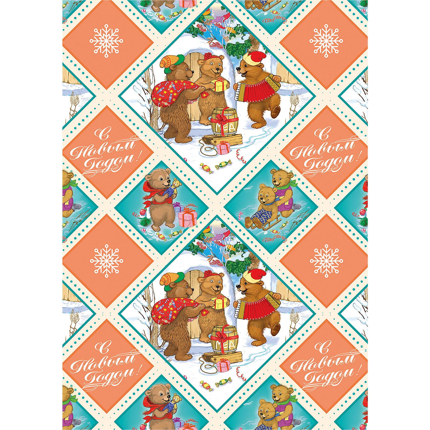 Упаковочная бумага Медвежата 100*70 смВсё для праздника<br>Упаковочная бумага Медвежата 100 * 70 см - впустите атмосферу зимы и праздников в ваш дом! С этой декоративной бумагой так весело наряжать подарки и радовать близких. Яркая односторонняя бумага с цветными рисунками веселых мишек, наслаждающихся зимними праздниками и надписью «С Новым Годом!» подойдет для любого типа подарков не зависимо от пола и возраста. Упаковочная бумага представлена свернутой в рулон. Подарите сюрприз вашим близким!<br><br>Дополнительная информация:<br><br>- Размер: 100 * 70 см.<br>- Материал: бумага, плотность 80 г/м2 <br>Упаковочную бумагу Медвежата 100 * 70 см можно купить в нашем интернет-магазине.<br>Подробнее:<br>• Для детей в возрасте: от 3 лет<br>• Номер товара: 4981465<br>Страна производитель: Китай<br><br>Ширина мм: 100<br>Глубина мм: 100<br>Высота мм: 60<br>Вес г: 62<br>Возраст от месяцев: 36<br>Возраст до месяцев: 2147483647<br>Пол: Унисекс<br>Возраст: Детский<br>SKU: 4981465