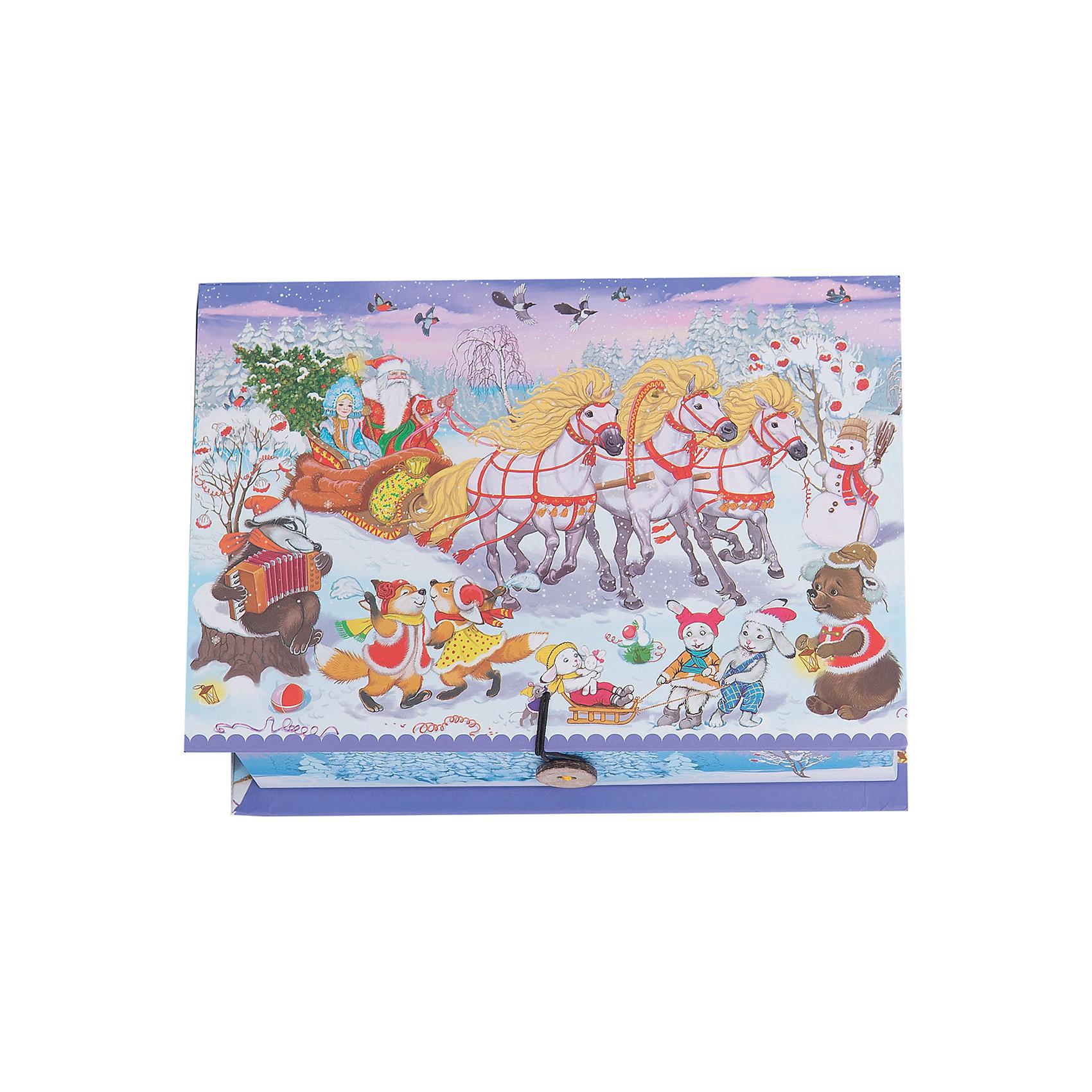 Подарочная коробка Праздник 20*14*6 смПодарочная коробка Новогодний праздник 20 * 14 * 6 см - впустите атмосферу зимы и праздников в ваш дом! С этой подарочной коробкой так весело наряжать подарки и радовать близких. Картонная коробка выглядит как книга и имеет яркую обложку с цветными рисунками деда Мороза, мчащегося на тройке лошадей чтобы привезти подарки. На корешке изображены веселые зверята и надпись « С Новым Годом». Коробка закрывается на небольшой эластичный шнурок и пуговичку. Устройте сюрприз вашим близким!<br>Дополнительная информация:<br><br>- Размер: 20 * 14 * 6 см.<br>- Материал: картон плотностью 1100 г/м2<br>Подарочную коробку Новогодний праздник 20 * 14 * 6 см можно купить в нашем интернет-магазине.<br>Подробнее:<br>• Для детей в возрасте: от 3 лет<br>• Номер товара: 4981491<br>Страна производитель: Китай<br><br>Ширина мм: 200<br>Глубина мм: 140<br>Высота мм: 60<br>Вес г: 330<br>Возраст от месяцев: 36<br>Возраст до месяцев: 2147483647<br>Пол: Унисекс<br>Возраст: Детский<br>SKU: 4981491