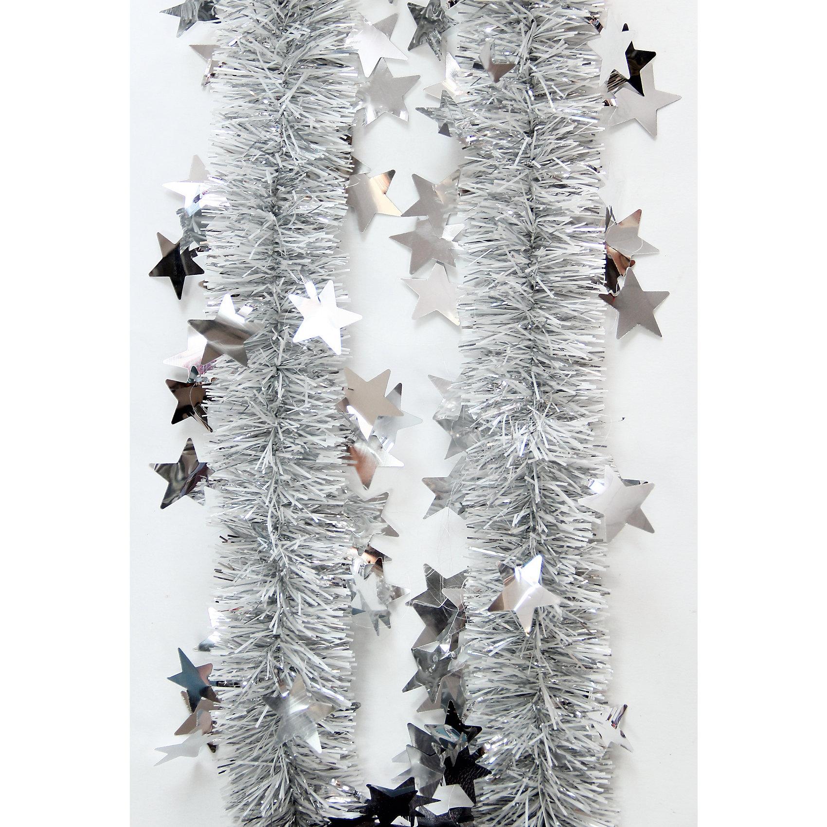 Мишура Серебро 6*200 смВсё для праздника<br>Мишура Серебро 6*200 см – этот новогодний аксессуар принесет в ваш дом ни с чем несравнимое ощущение праздника!<br>Пушистая новогодняя мишура серебристого цвета, декорированная звездочками, поможет вам украсить свой дом к предстоящим праздникам. Мишурой можно украсить все, что угодно - елку, квартиру, дачу, офис - как внутри, так и снаружи. Можно сложить новогодние поздравления, буквы и цифры, дополнить гирлянды, выделить дверные колонны или оплести дверные проемы. Искрящаяся мишура создаст множество ярких бликов, наполнит дом атмосферой волшебства и магии!<br><br>Дополнительная информация:<br><br>- Размер: 6х200 см.<br>- Материал: ПЭТ (полиэтилентерефталат)<br>- Цвет: серебристый<br><br>Мишуру Серебро 6*200 см можно купить в нашем интернет-магазине.<br><br>Ширина мм: 100<br>Глубина мм: 100<br>Высота мм: 60<br>Вес г: 610<br>Возраст от месяцев: 36<br>Возраст до месяцев: 2147483647<br>Пол: Унисекс<br>Возраст: Детский<br>SKU: 4981506