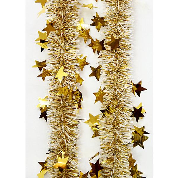 Мишура Золото 6*200 смНовогодняя мишура и бусы<br>Мишура Золото 6*200 см – этот новогодний аксессуар принесет в ваш дом ни с чем несравнимое ощущение праздника!<br>Пушистая новогодняя мишура золотого цвета, декорированная звездочками, поможет вам украсить свой дом к предстоящим праздникам. Мишурой можно украсить все, что угодно - елку, квартиру, дачу, офис - как внутри, так и снаружи. Можно сложить новогодние поздравления, буквы и цифры, дополнить гирлянды, выделить дверные колонны или оплести дверные проемы. Искрящаяся мишура создаст множество ярких бликов, наполнит дом атмосферой волшебства и магии!<br><br>Дополнительная информация:<br><br>- Размер: 6х200 см.<br>- Материал: ПЭТ (полиэтилентерефталат)<br>- Цвет: золото<br><br>Мишуру Золото 6*200 см можно купить в нашем интернет-магазине.<br><br>Ширина мм: 100<br>Глубина мм: 100<br>Высота мм: 60<br>Вес г: 620<br>Возраст от месяцев: 36<br>Возраст до месяцев: 2147483647<br>Пол: Унисекс<br>Возраст: Детский<br>SKU: 4981507