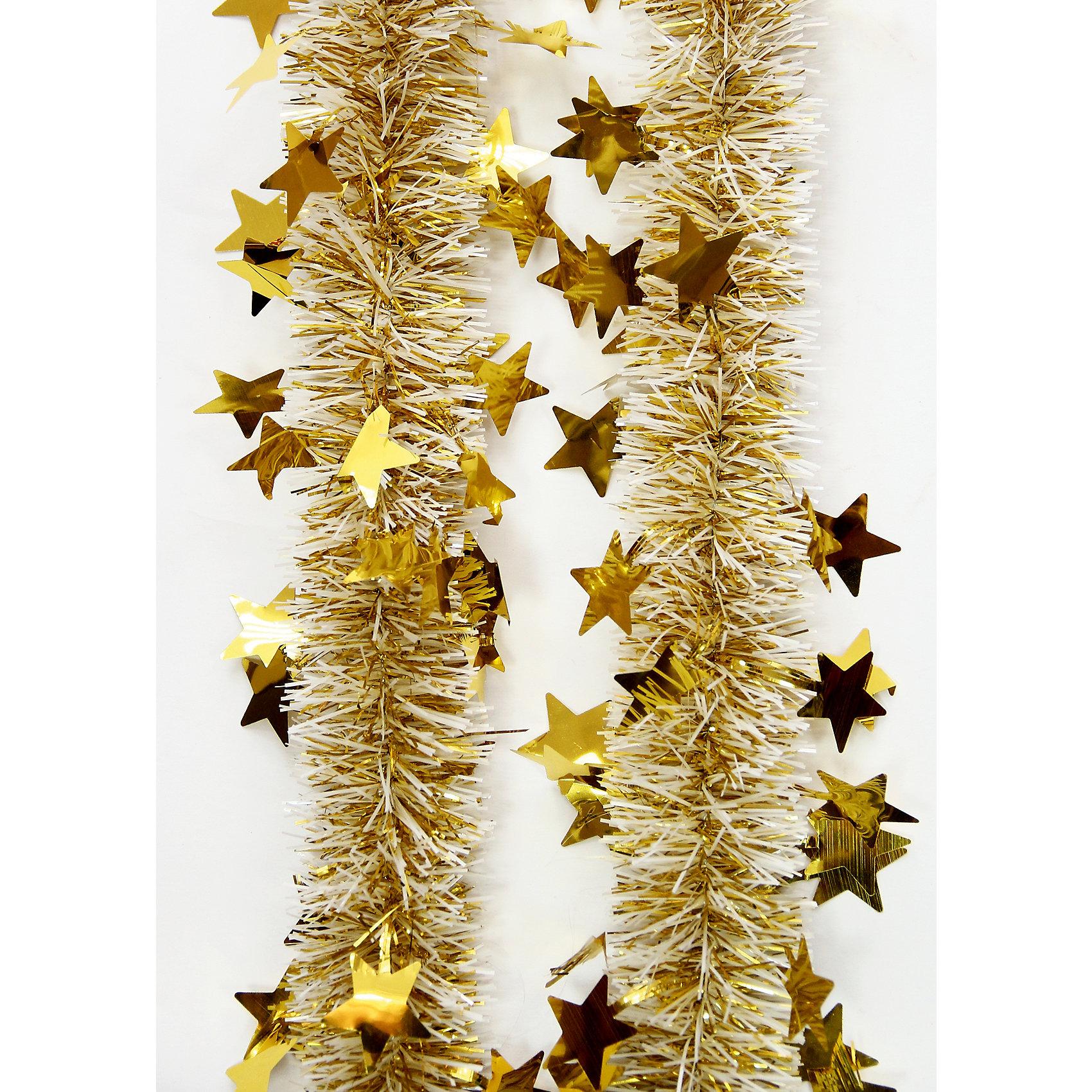 Мишура Золото 6*200 смВсё для праздника<br>Мишура Золото 6*200 см – этот новогодний аксессуар принесет в ваш дом ни с чем несравнимое ощущение праздника!<br>Пушистая новогодняя мишура золотого цвета, декорированная звездочками, поможет вам украсить свой дом к предстоящим праздникам. Мишурой можно украсить все, что угодно - елку, квартиру, дачу, офис - как внутри, так и снаружи. Можно сложить новогодние поздравления, буквы и цифры, дополнить гирлянды, выделить дверные колонны или оплести дверные проемы. Искрящаяся мишура создаст множество ярких бликов, наполнит дом атмосферой волшебства и магии!<br><br>Дополнительная информация:<br><br>- Размер: 6х200 см.<br>- Материал: ПЭТ (полиэтилентерефталат)<br>- Цвет: золото<br><br>Мишуру Золото 6*200 см можно купить в нашем интернет-магазине.<br><br>Ширина мм: 100<br>Глубина мм: 100<br>Высота мм: 60<br>Вес г: 620<br>Возраст от месяцев: 36<br>Возраст до месяцев: 2147483647<br>Пол: Унисекс<br>Возраст: Детский<br>SKU: 4981507